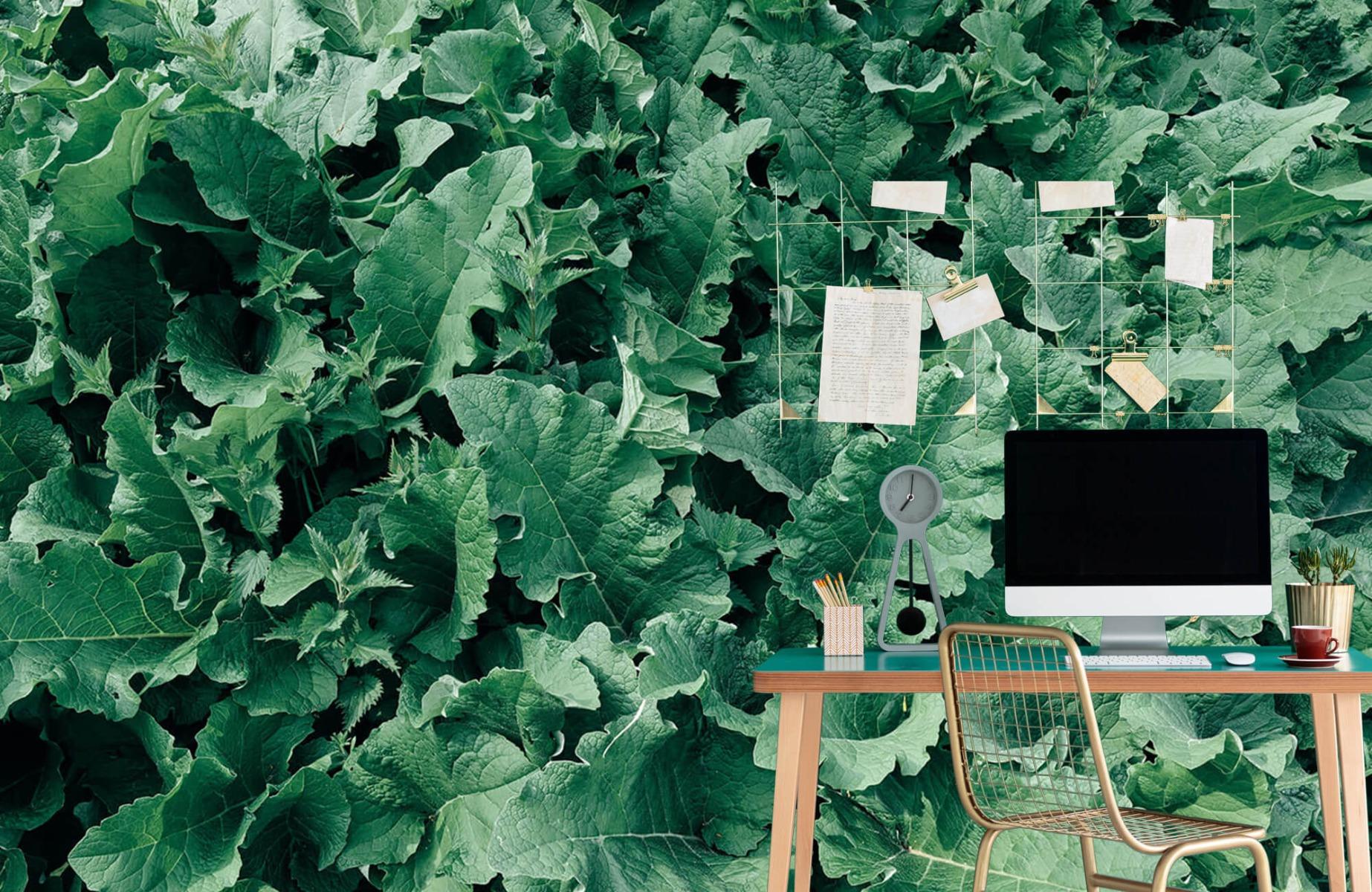 Bladeren - Gedetailleerd groen bladerdek - Wallexclusive - Slaapkamer 7