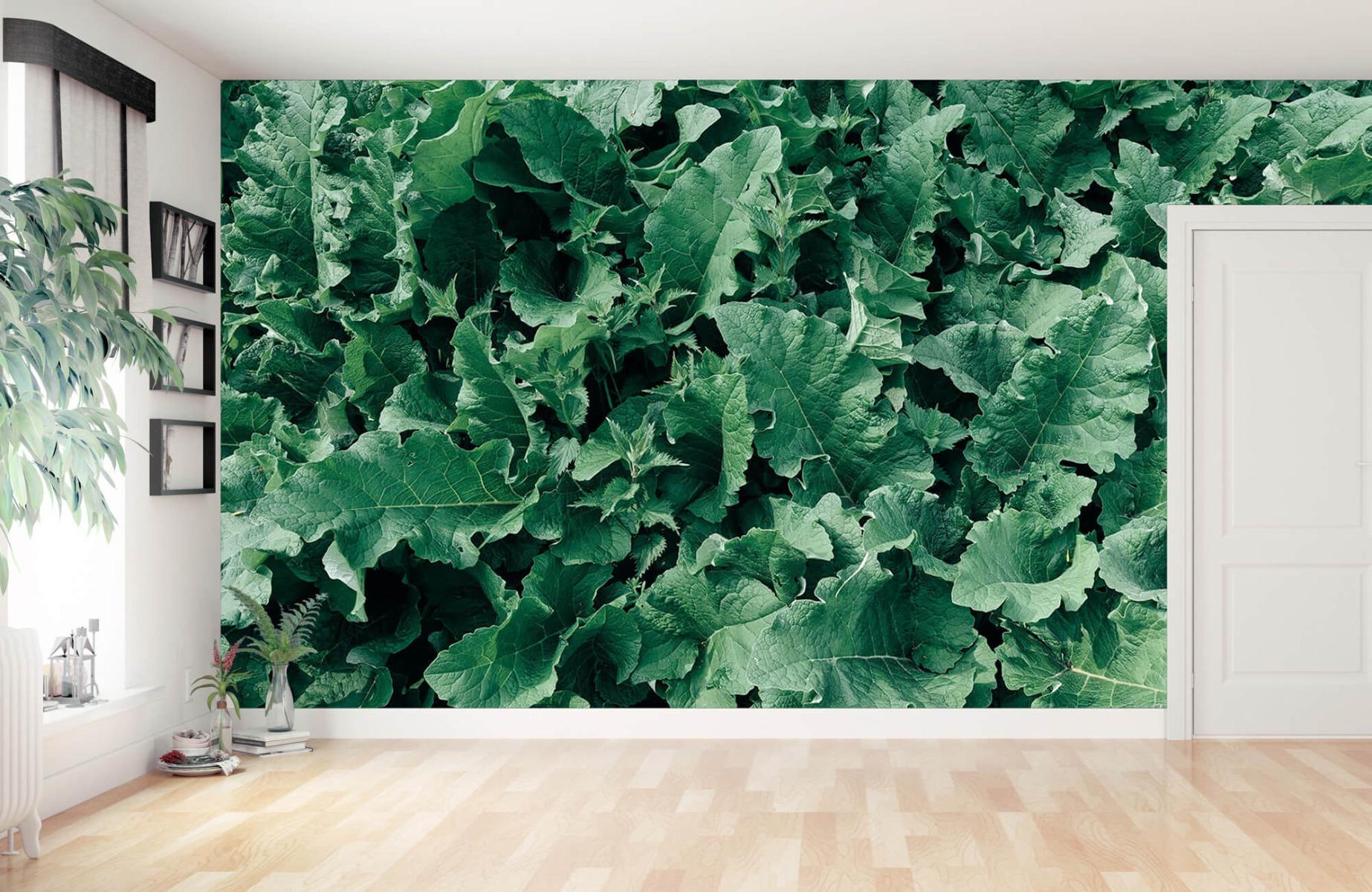 Bladeren - Gedetailleerd groen bladerdek - Wallexclusive - Slaapkamer 11