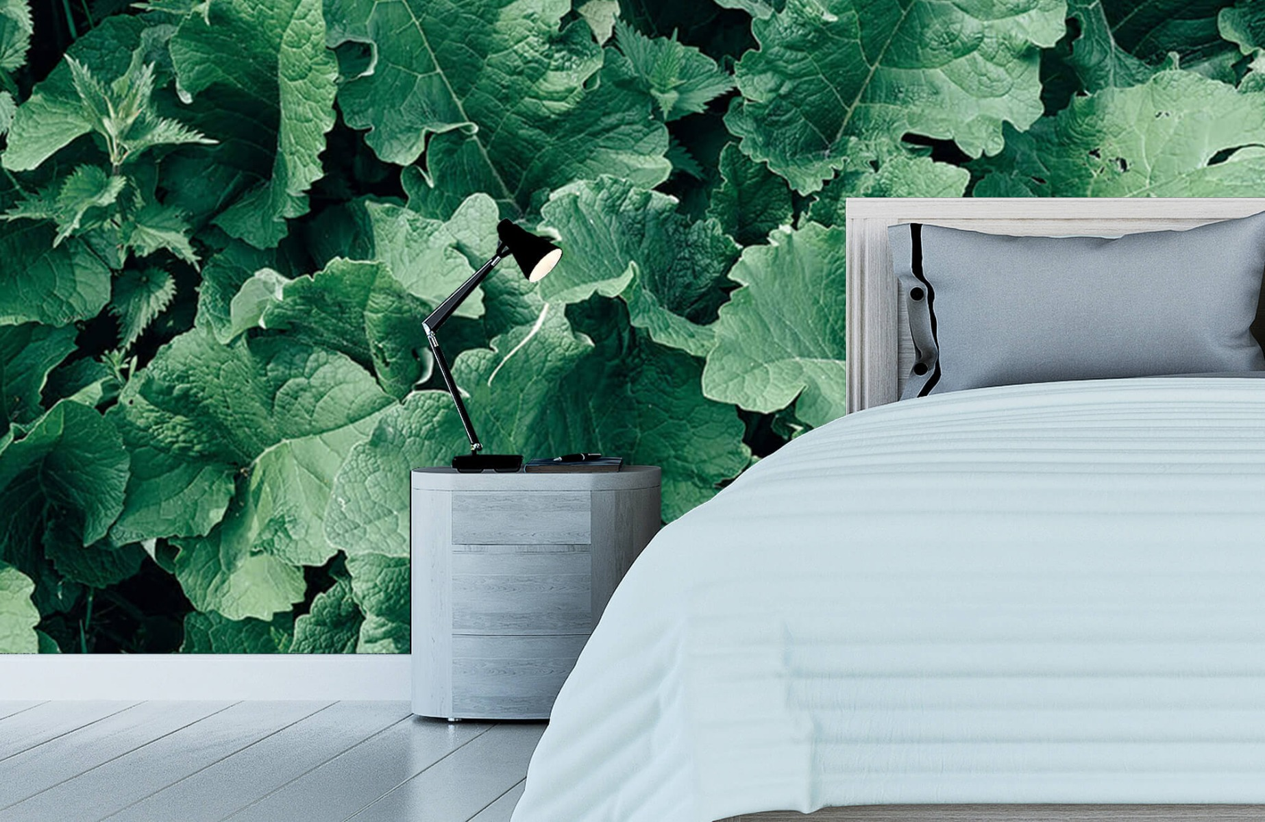 Bladeren - Gedetailleerd groen bladerdek - Wallexclusive - Slaapkamer 12