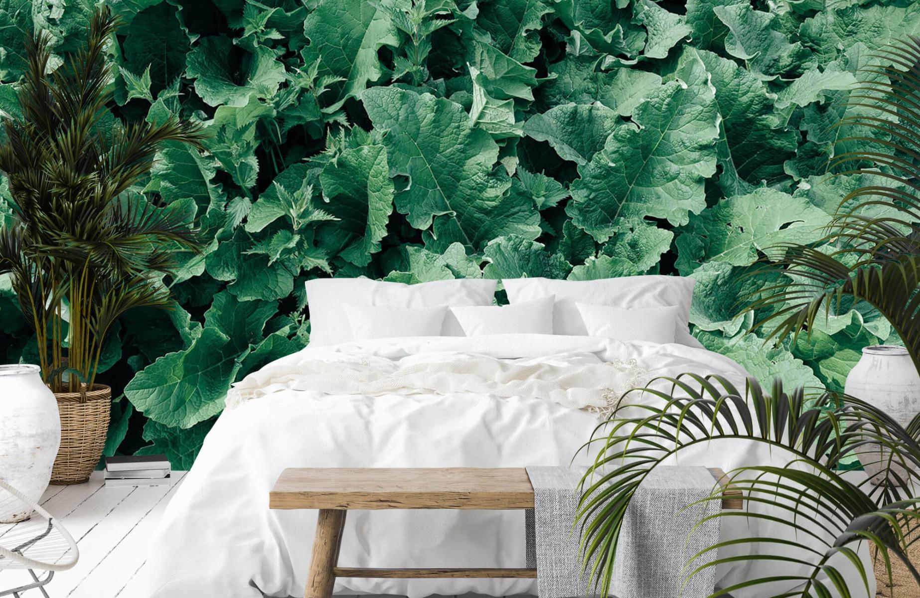 Bladeren - Gedetailleerd groen bladerdek - Wallexclusive - Slaapkamer 13