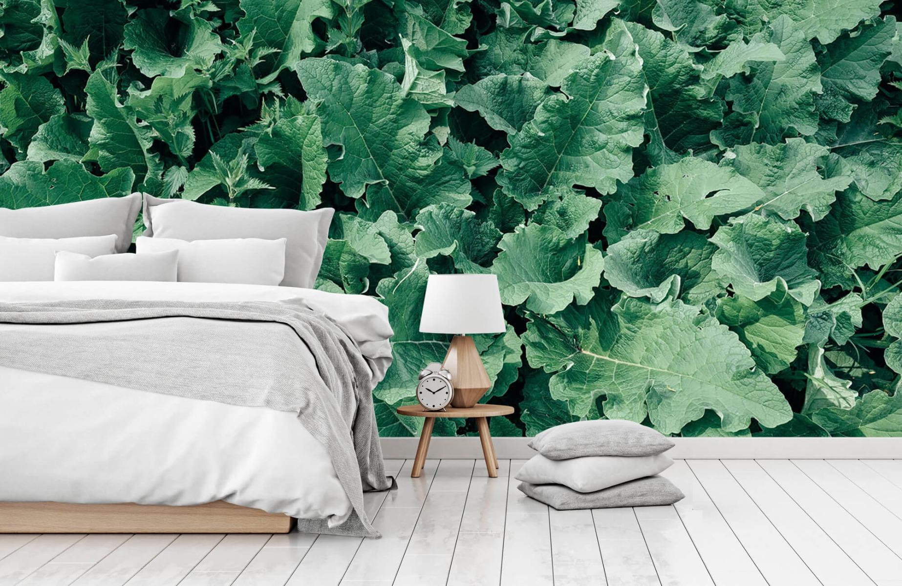 Bladeren - Gedetailleerd groen bladerdek - Wallexclusive - Slaapkamer 14