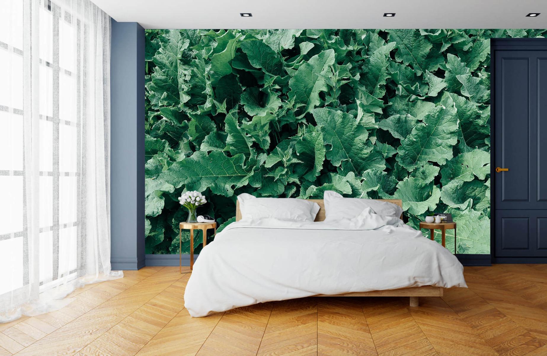 Bladeren - Gedetailleerd groen bladerdek - Wallexclusive - Slaapkamer 15
