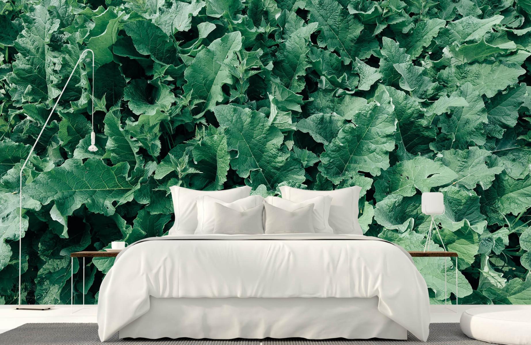 Bladeren - Gedetailleerd groen bladerdek - Wallexclusive - Slaapkamer 16