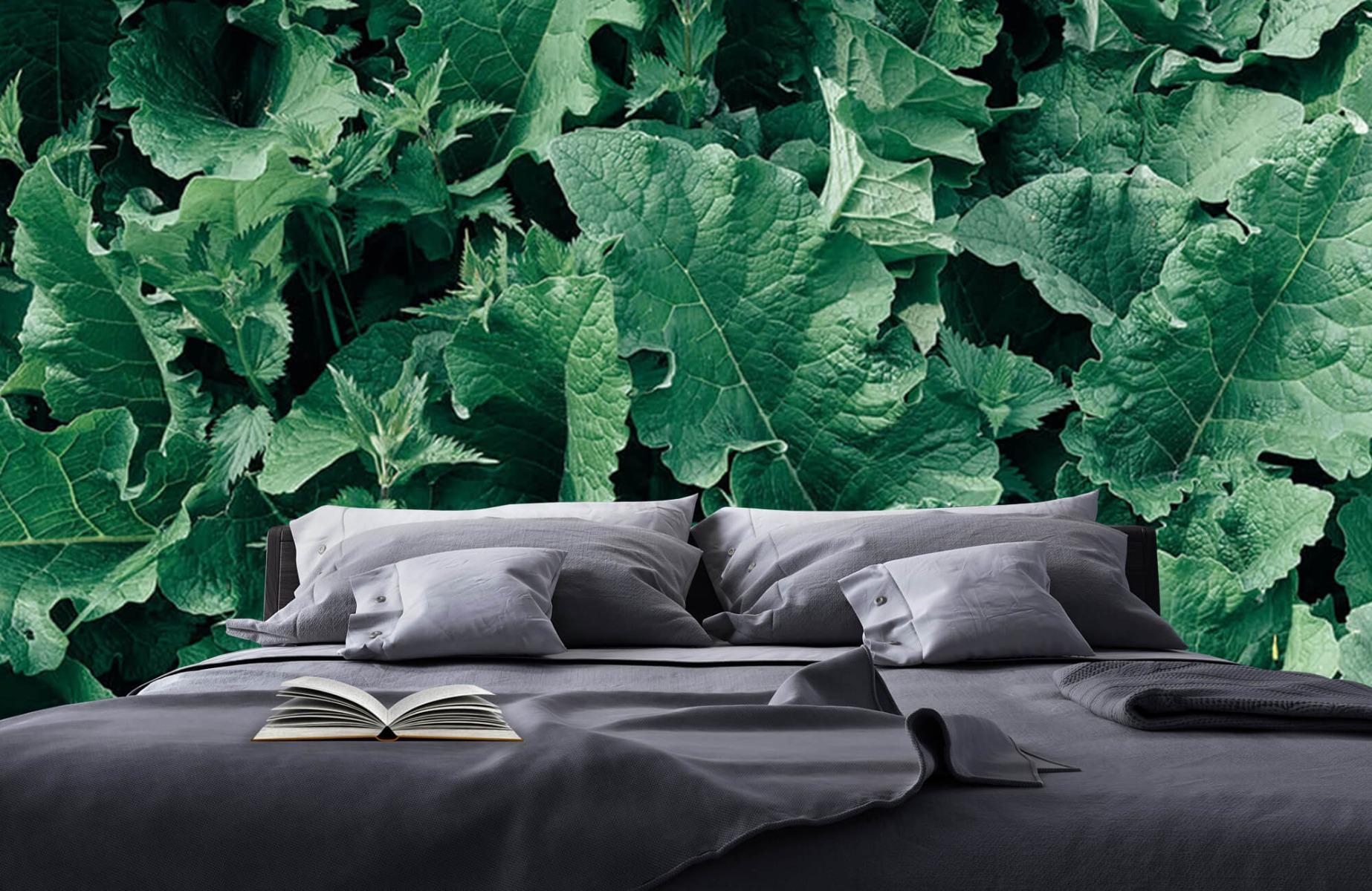 Bladeren - Gedetailleerd groen bladerdek - Wallexclusive - Slaapkamer 17