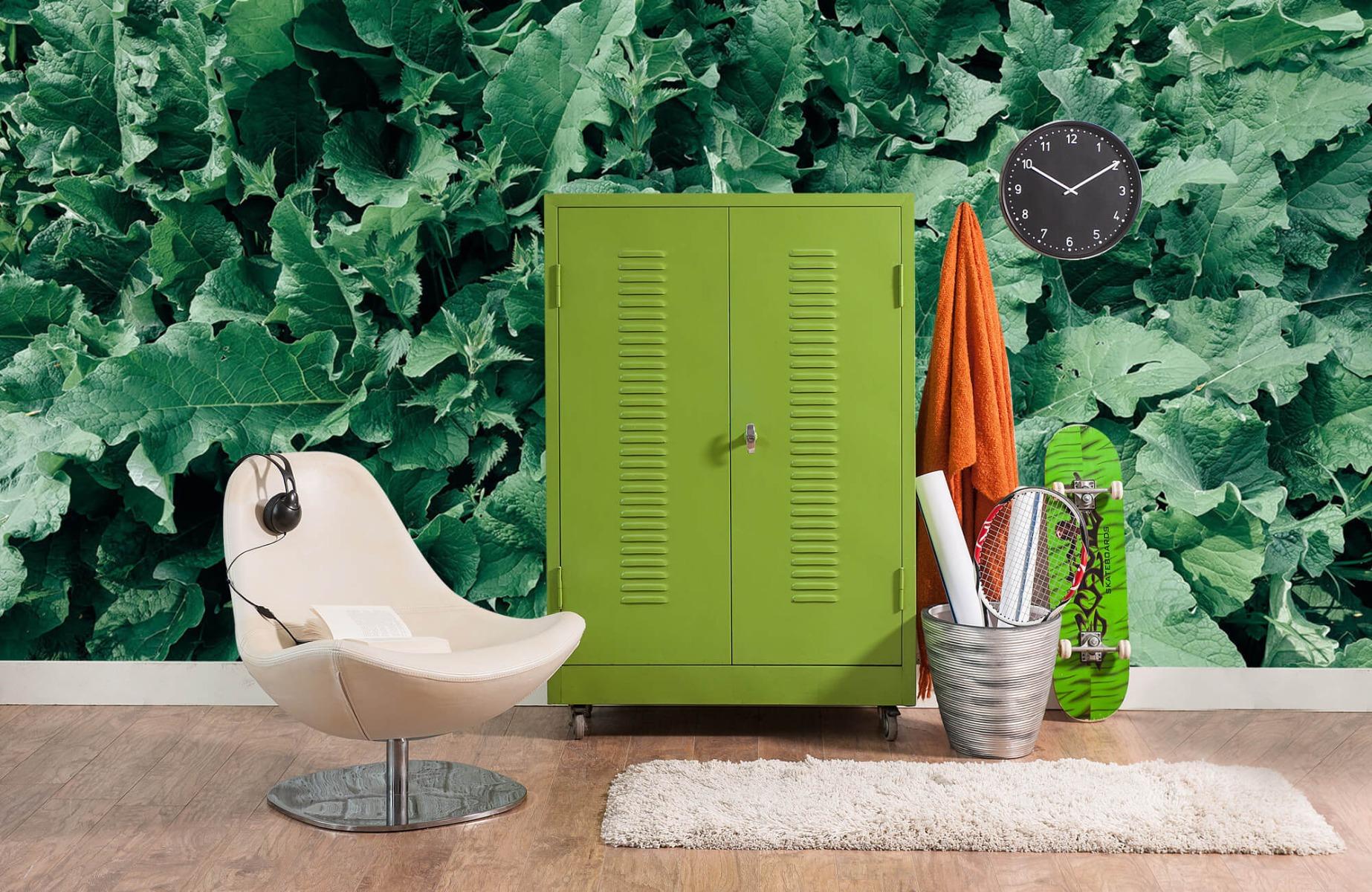 Bladeren - Gedetailleerd groen bladerdek - Wallexclusive - Slaapkamer 18