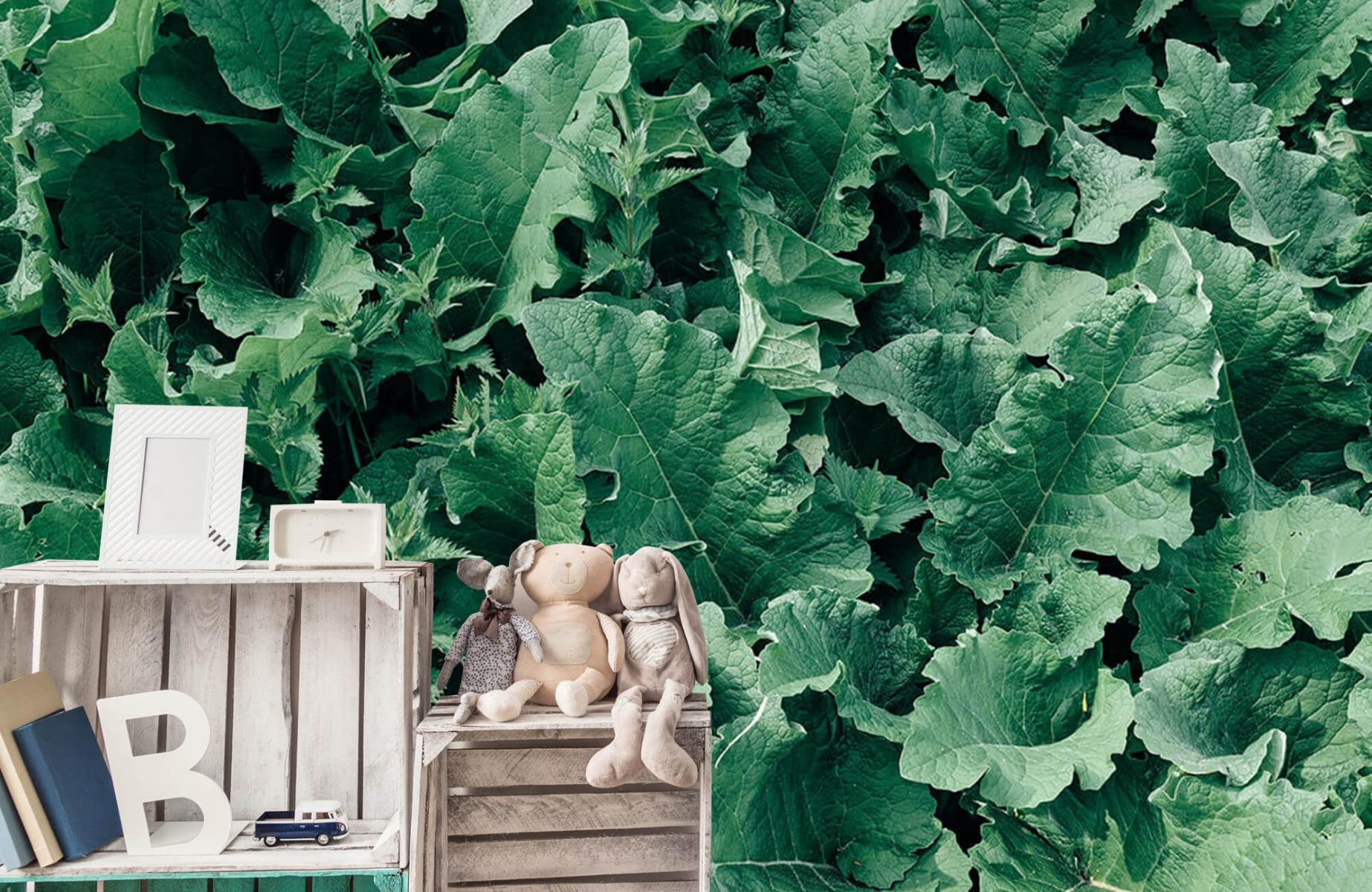 Bladeren - Gedetailleerd groen bladerdek - Wallexclusive - Slaapkamer 19