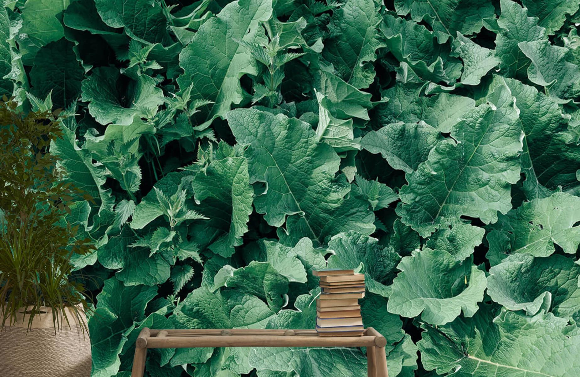 Bladeren - Gedetailleerd groen bladerdek - Wallexclusive - Slaapkamer 20