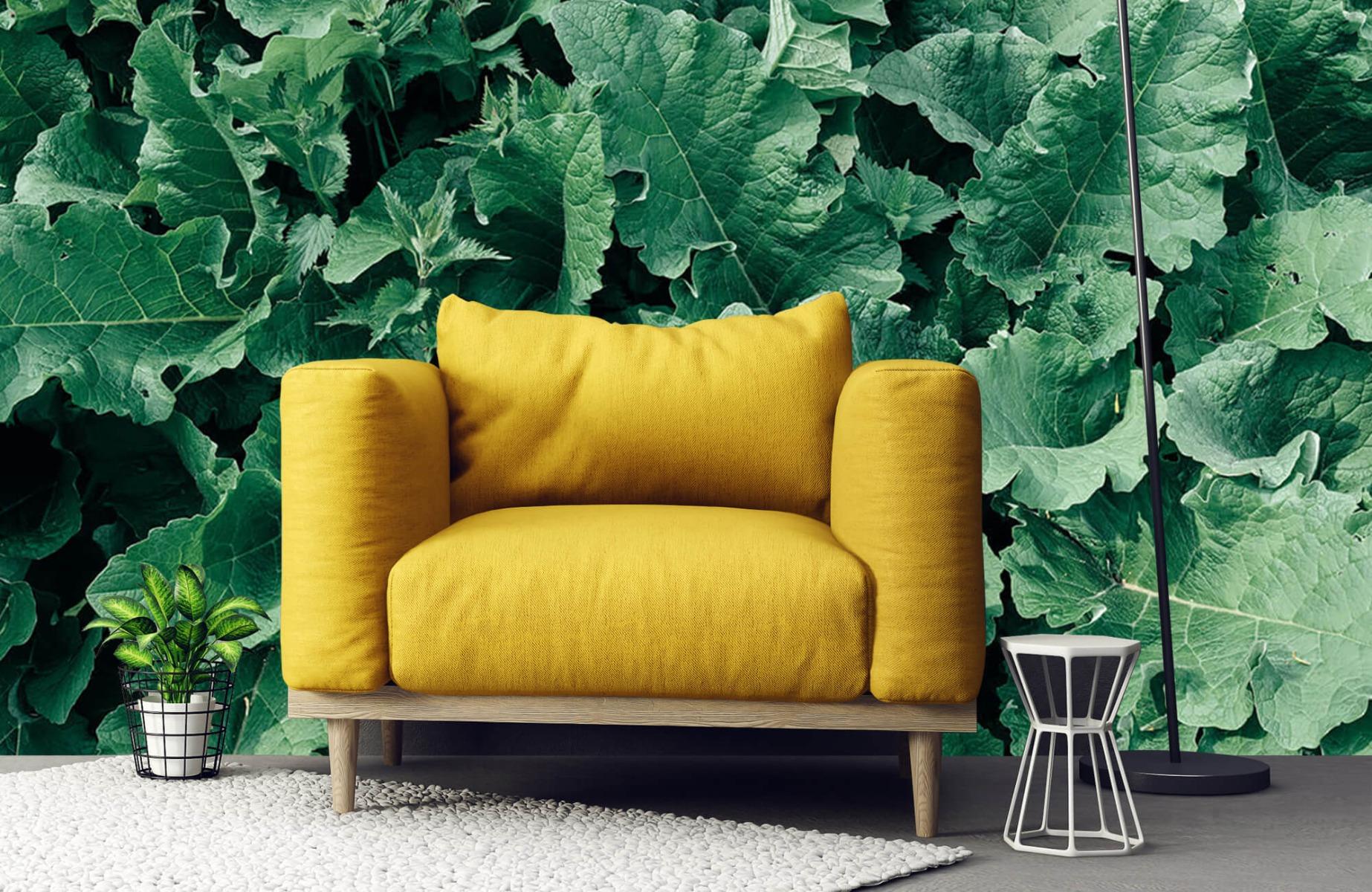 Bladeren - Gedetailleerd groen bladerdek - Wallexclusive - Slaapkamer 21