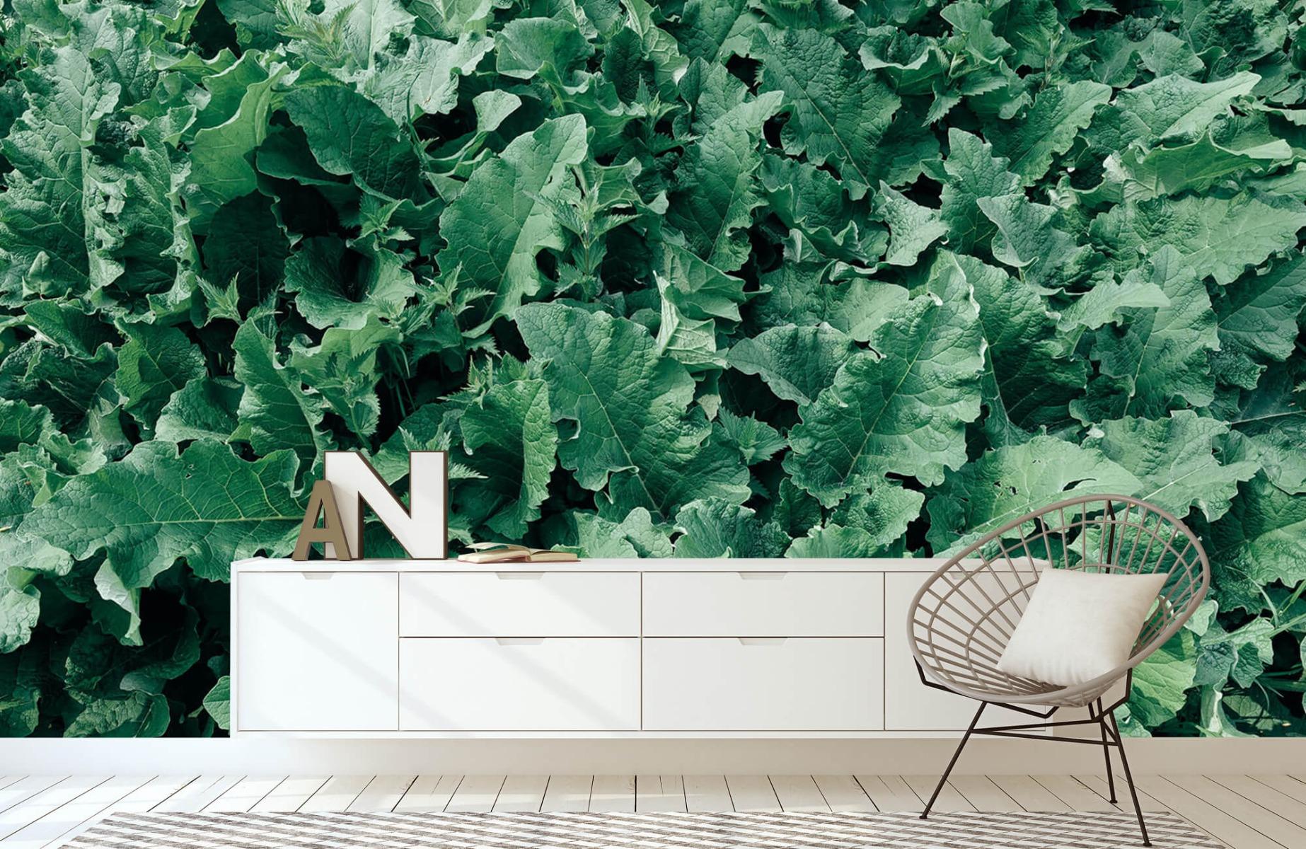 Bladeren - Gedetailleerd groen bladerdek - Wallexclusive - Slaapkamer 23
