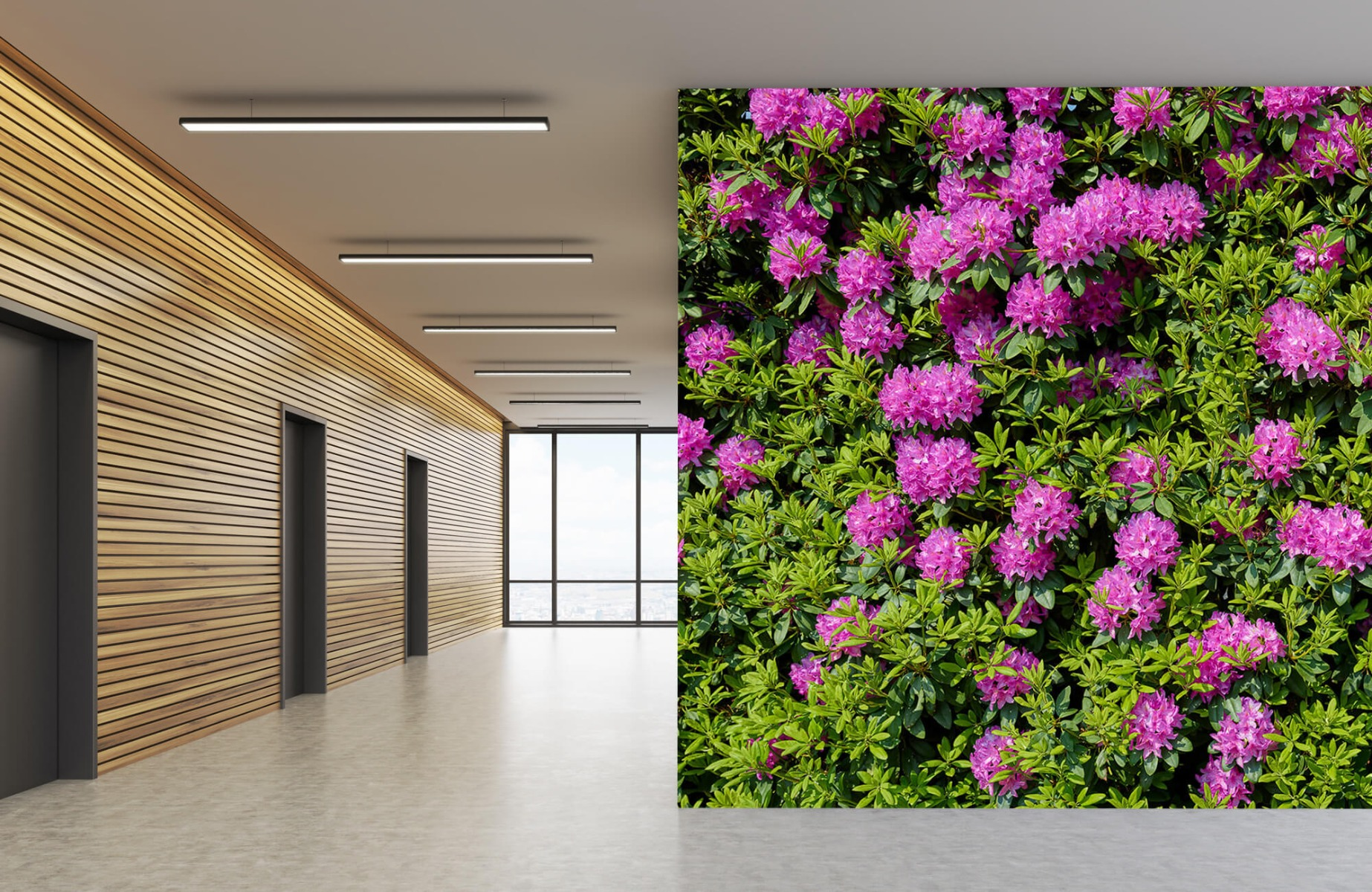 Bloemenvelden - Grote muur van rododendrons - Wallexclusive - Woonkamer 6