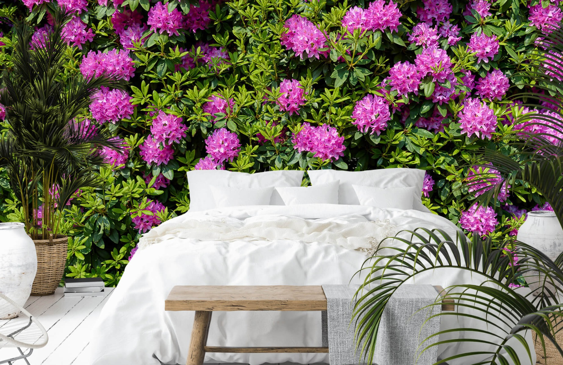 Bloemenvelden - Grote muur van rododendrons - Wallexclusive - Woonkamer 14