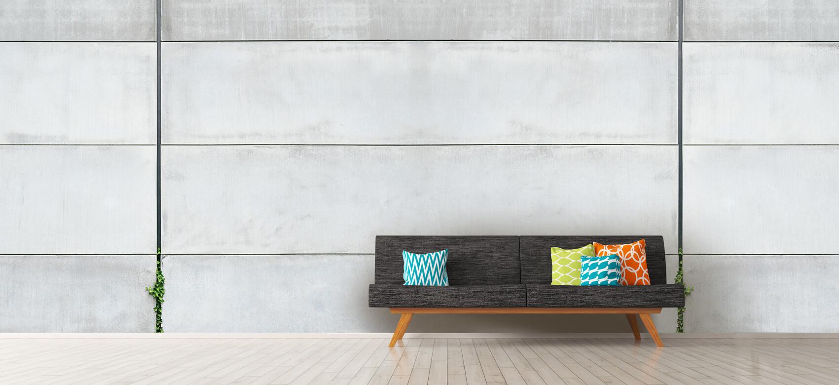 Betonlook behang - Panorama betonnen muur - Wallexclusive - Ontvangstruimte 1