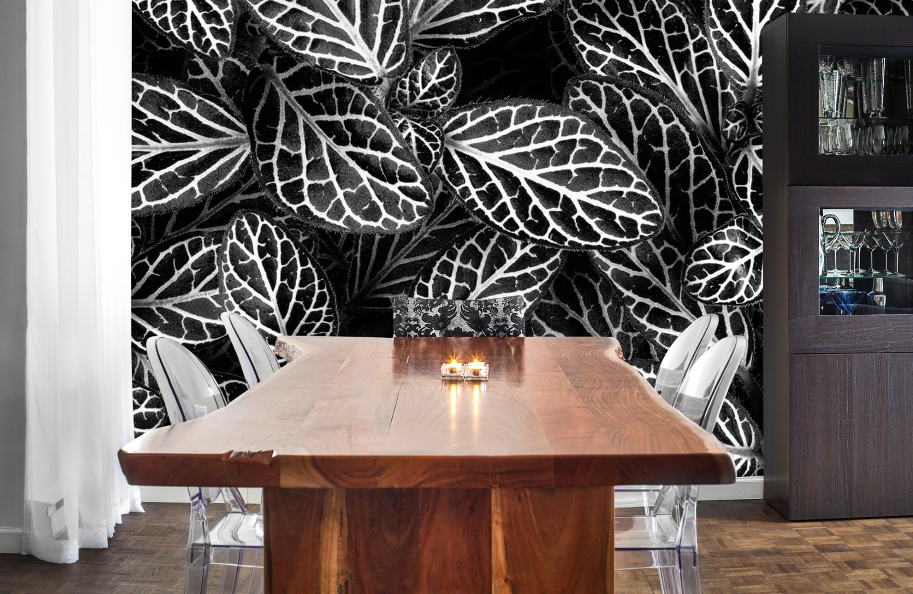 Zwart Wit behang - Fittonia - Wallexclusive - Vergaderruimte 2