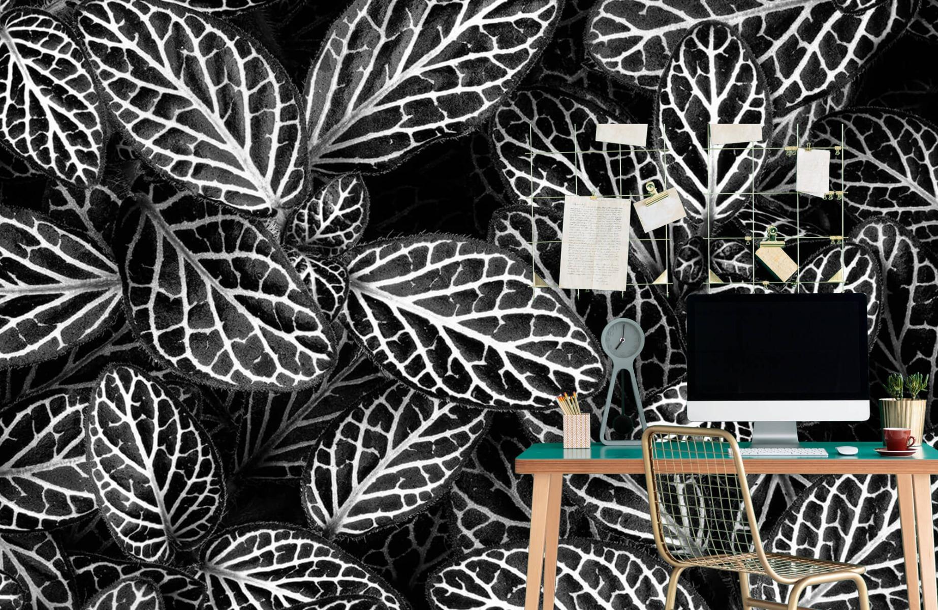 Zwart Wit behang - Fittonia - Wallexclusive - Vergaderruimte 1