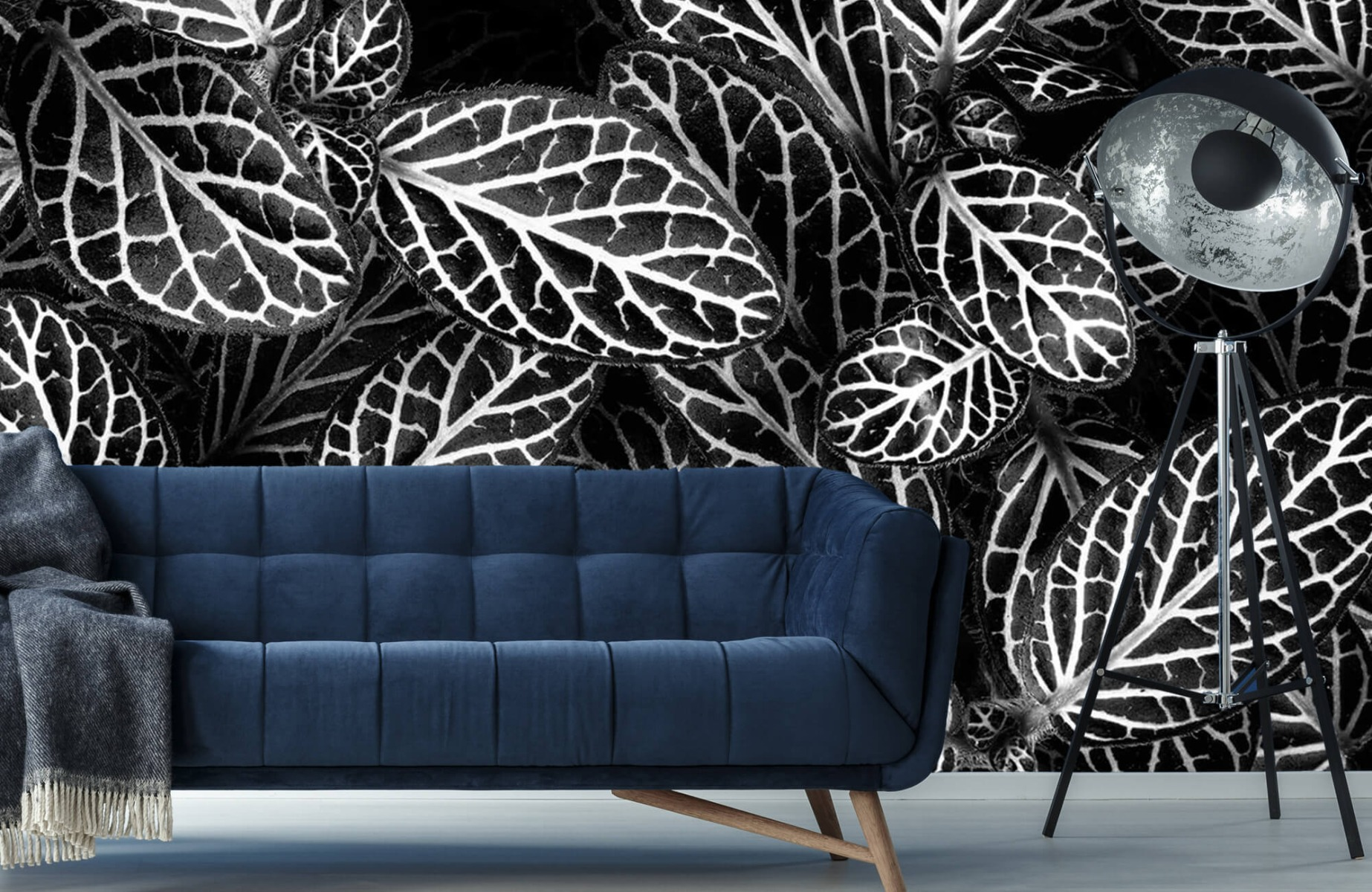Zwart Wit behang - Fittonia - Wallexclusive - Vergaderruimte 9