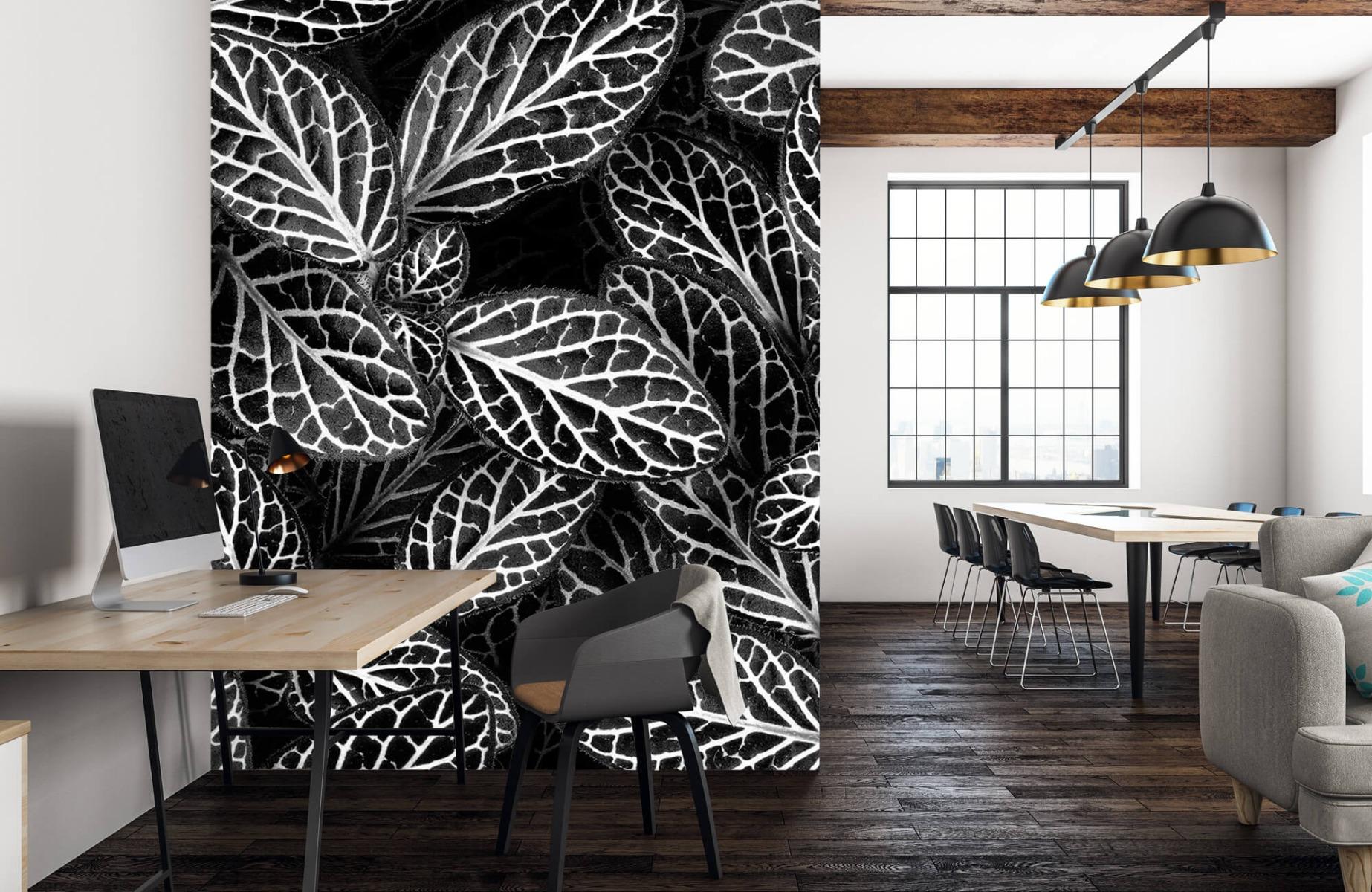 Zwart Wit behang - Fittonia - Wallexclusive - Vergaderruimte 22