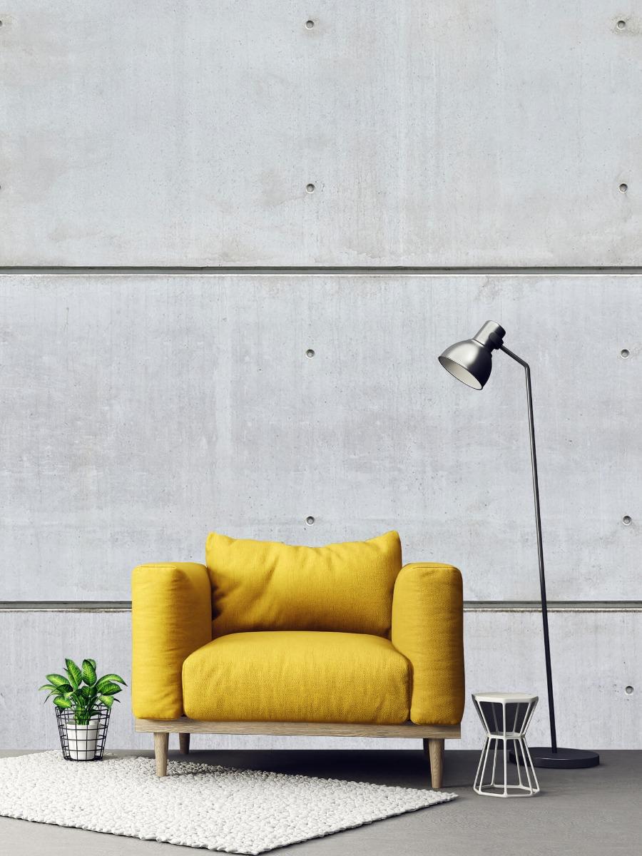 Betonlook behang - Horizontale betonnen muur - Kantine 1