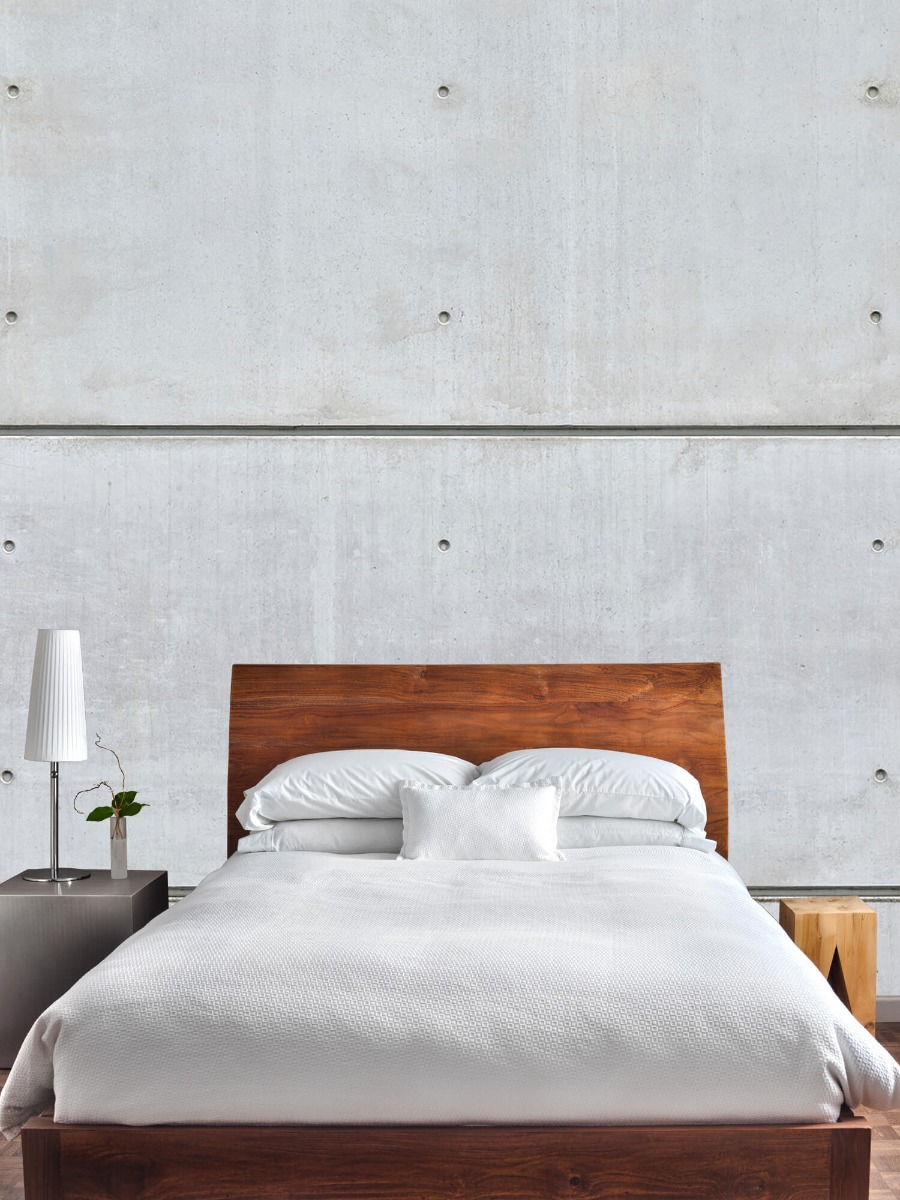 Betonlook behang - Horizontale betonnen muur - Kantine 3