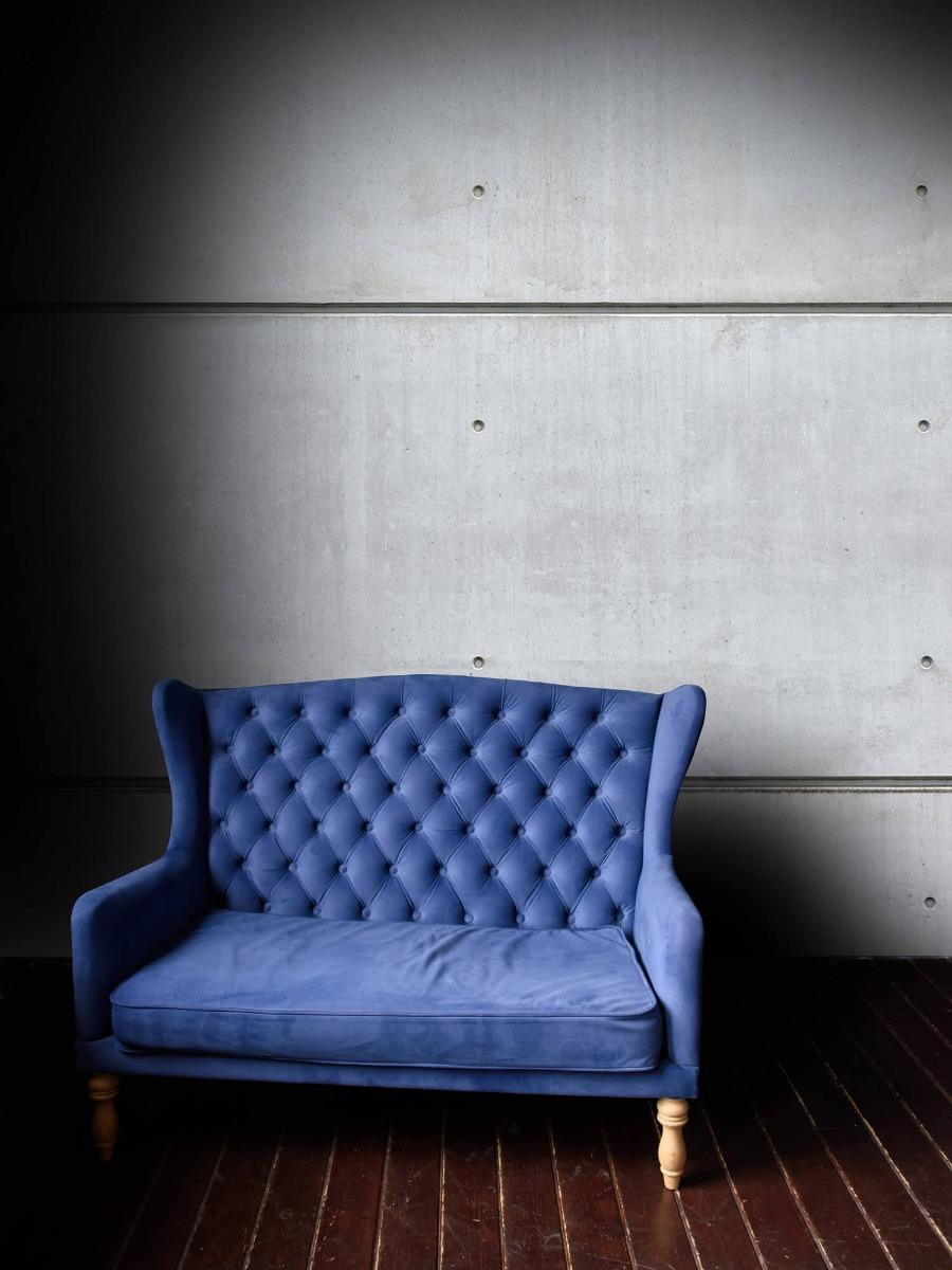 Betonlook behang - Horizontale betonnen muur - Kantine 4
