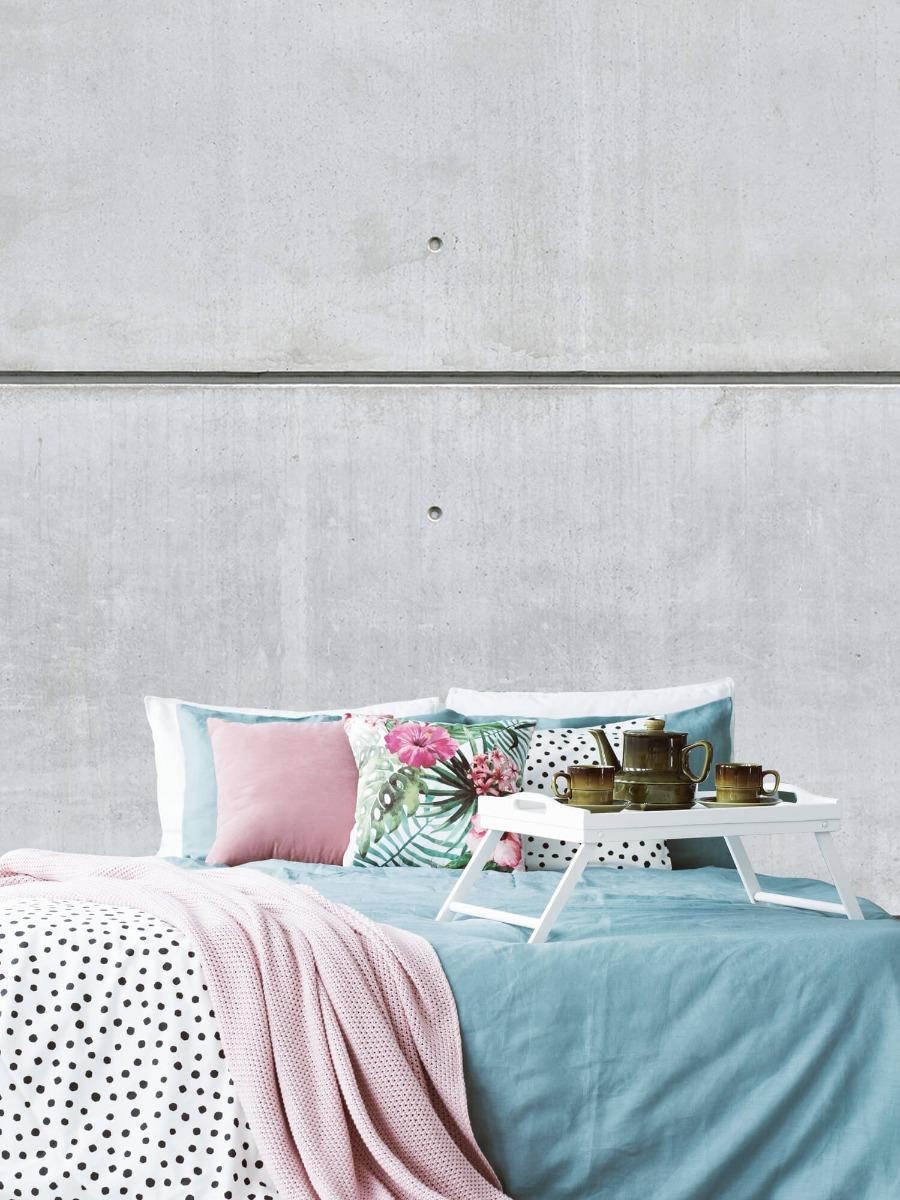 Betonlook behang - Horizontale betonnen muur - Kantine 5