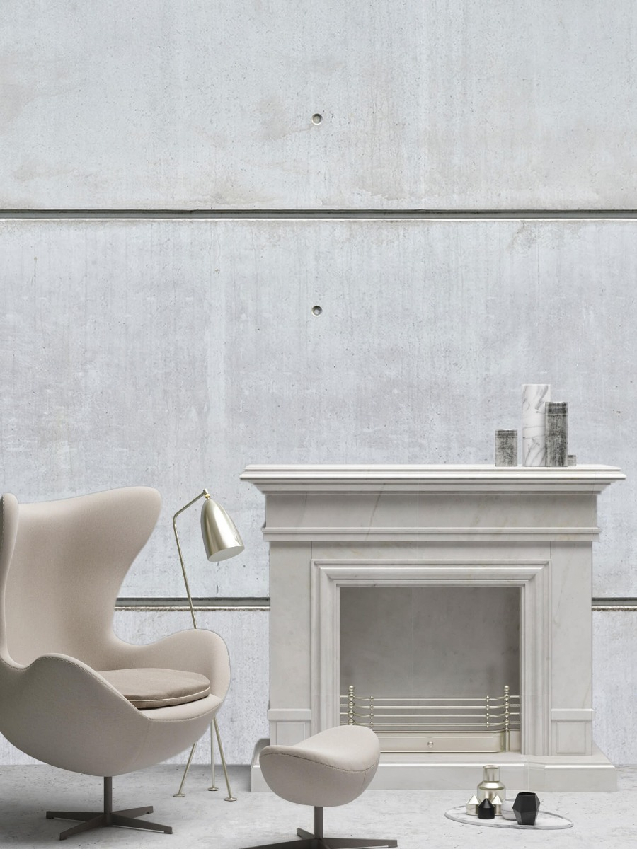 Betonlook behang - Horizontale betonnen muur - Kantine 6