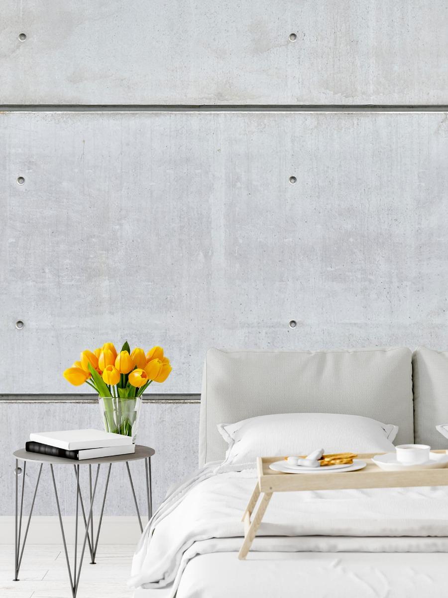 Betonlook behang - Horizontale betonnen muur - Kantine 7