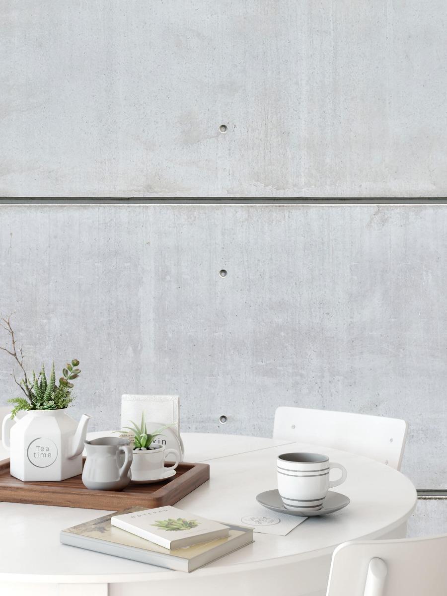 Betonlook behang - Horizontale betonnen muur - Kantine 8