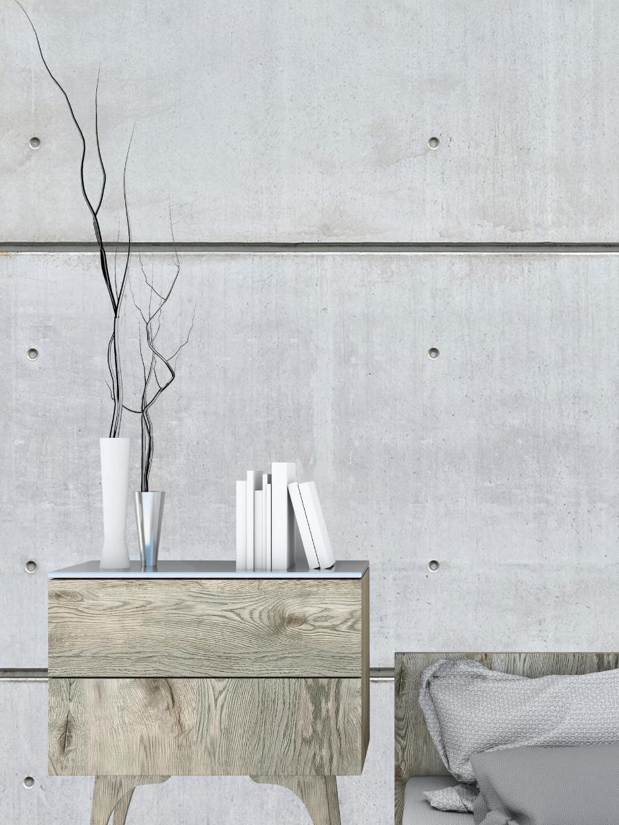 Betonlook behang - Horizontale betonnen muur - Kantine 9