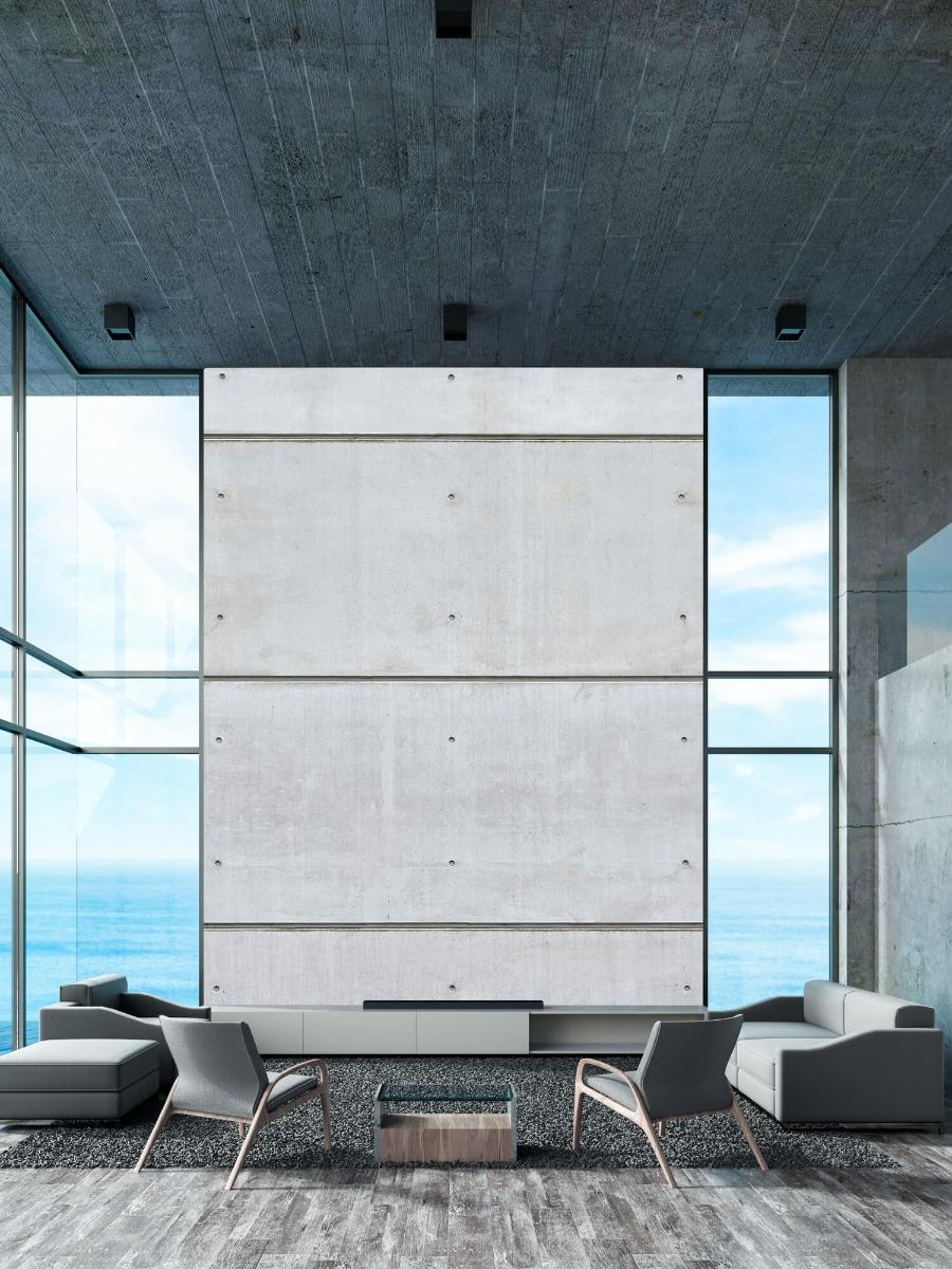 Betonlook behang - Horizontale betonnen muur - Kantine 10