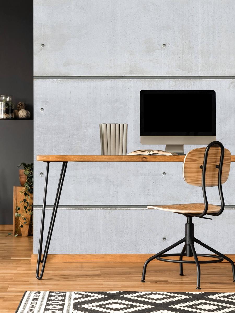 Betonlook behang - Horizontale betonnen muur - Kantine 11