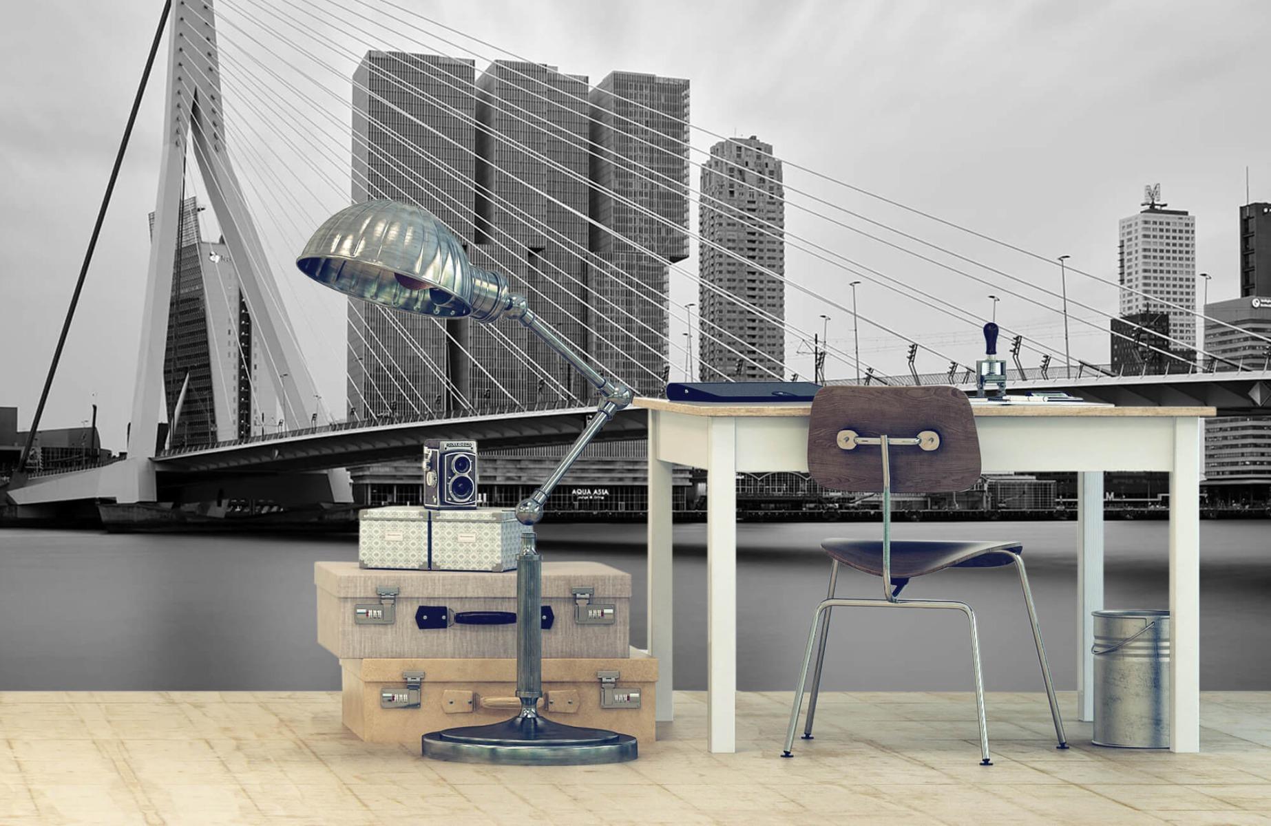 Steden behang - Erasmusbrug zwart wit - Wallexclusive - Slaapkamer 10