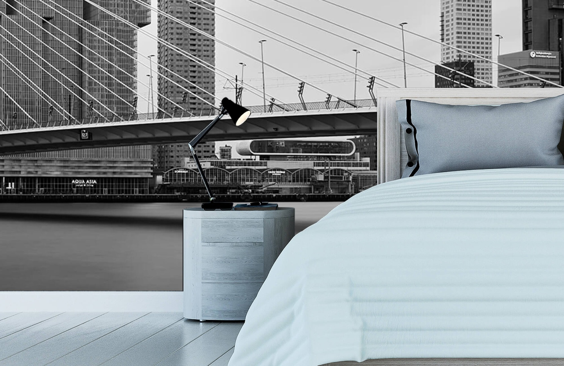 Steden behang - Erasmusbrug zwart wit - Wallexclusive - Slaapkamer 12