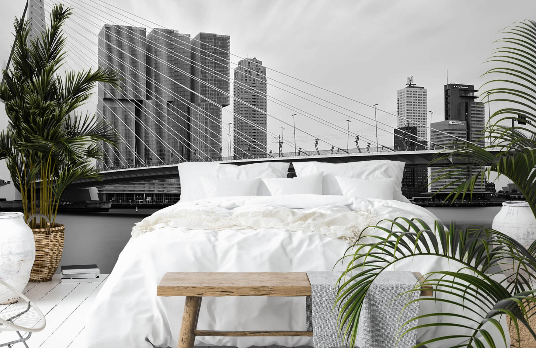 Steden behang - Erasmusbrug zwart wit - Wallexclusive - Slaapkamer 13