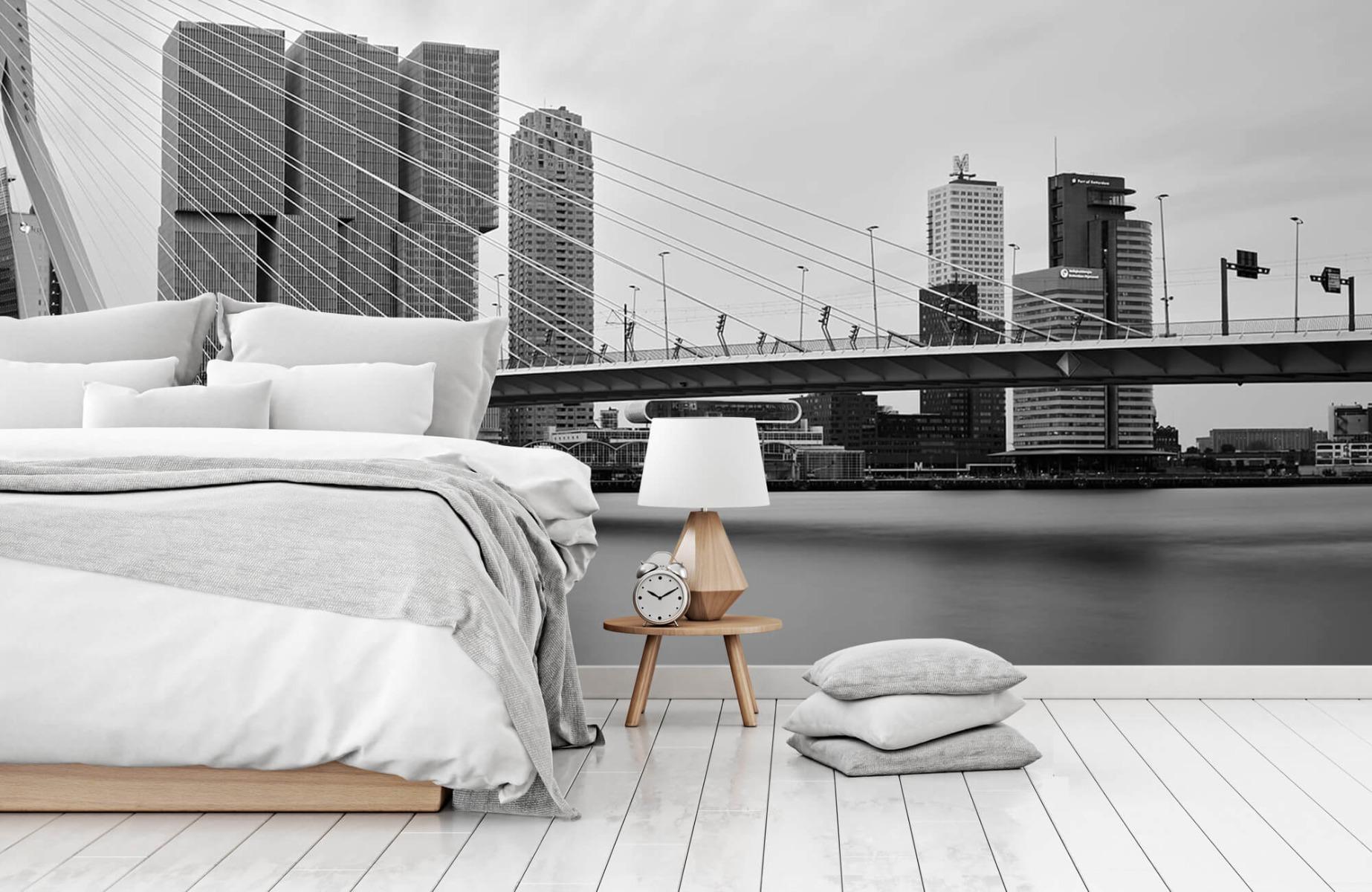 Steden behang - Erasmusbrug zwart wit - Wallexclusive - Slaapkamer 14