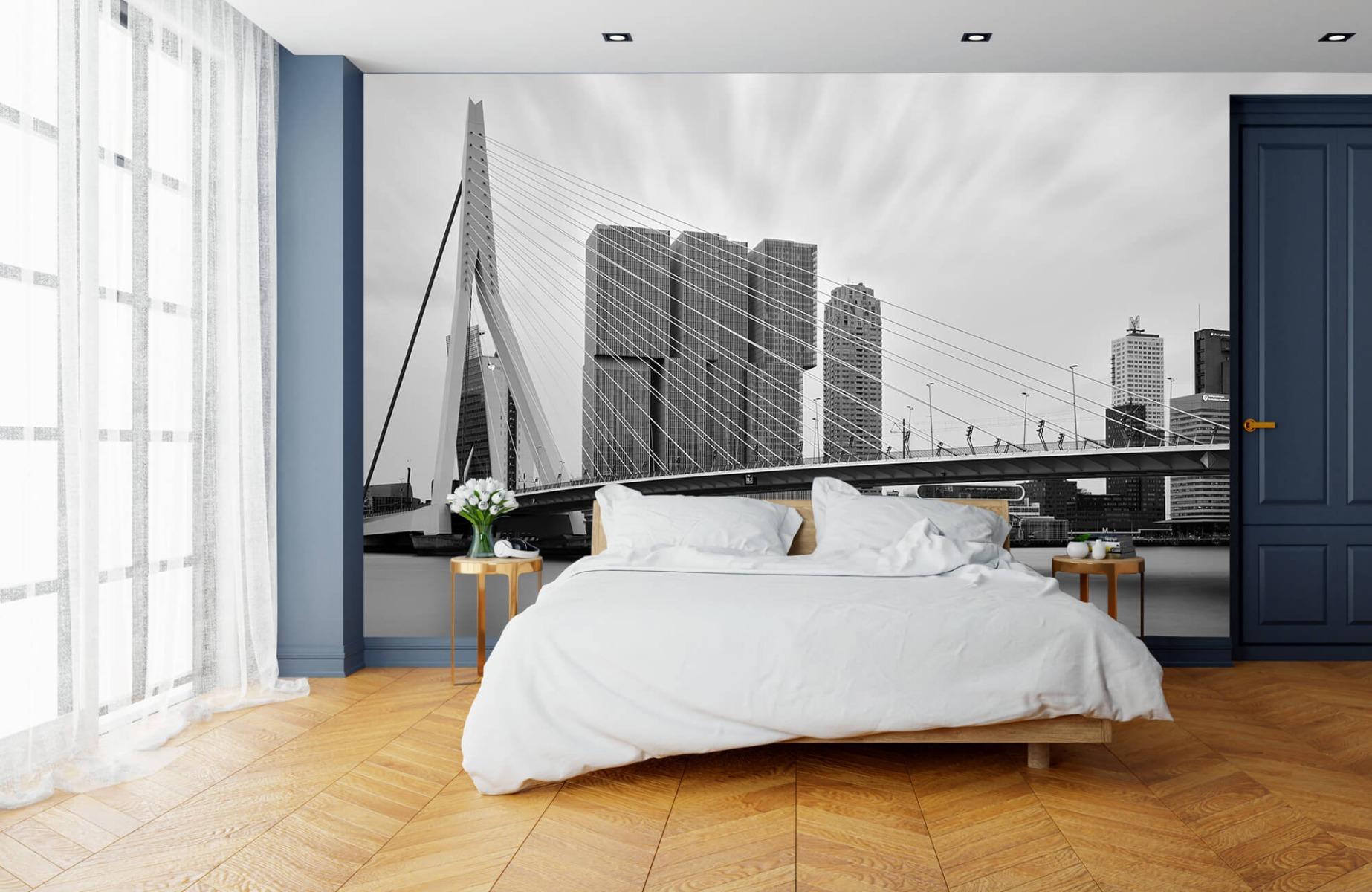 Steden behang - Erasmusbrug zwart wit - Wallexclusive - Slaapkamer 15