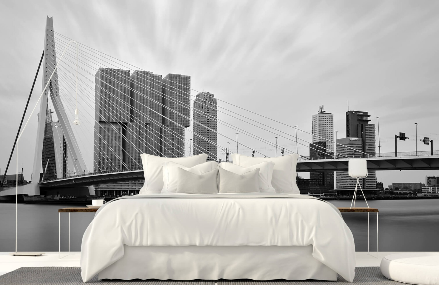 Steden behang - Erasmusbrug zwart wit - Wallexclusive - Slaapkamer 16