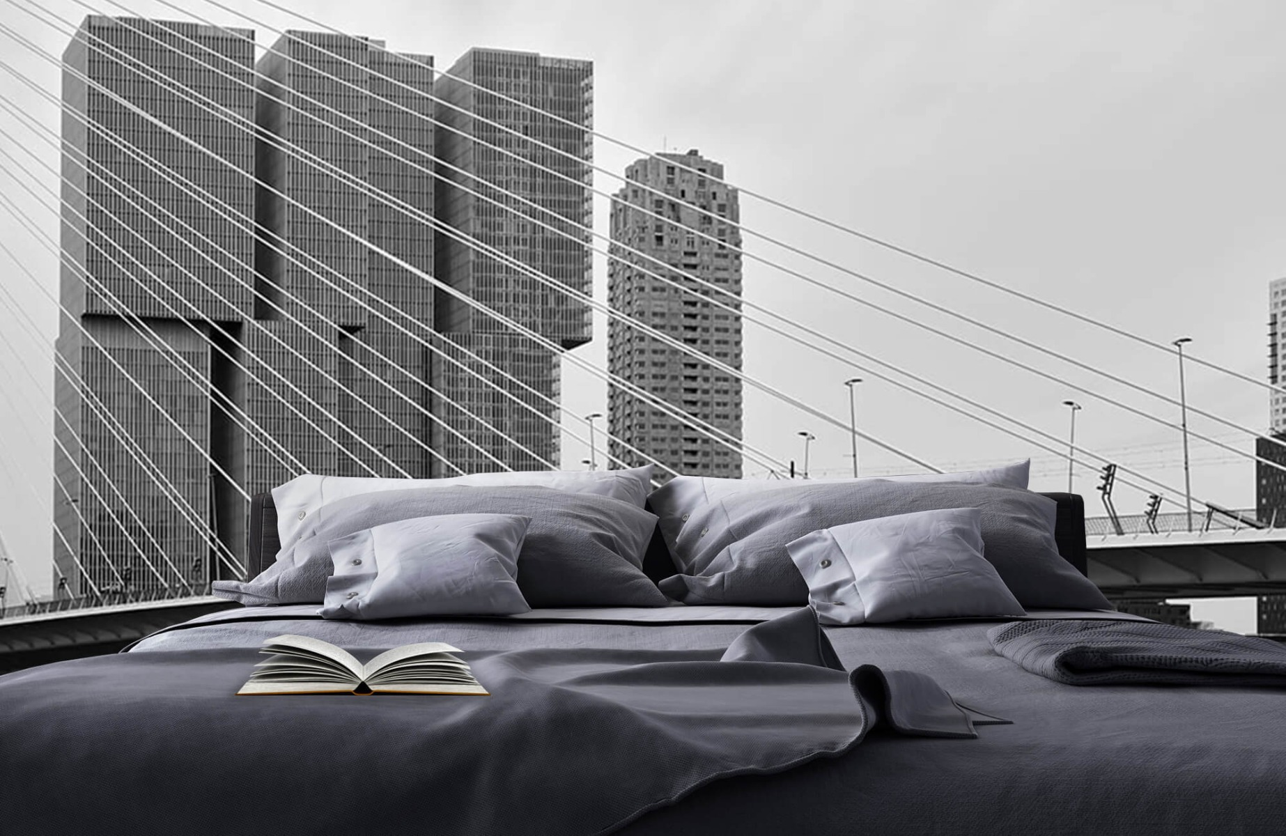 Steden behang - Erasmusbrug zwart wit - Wallexclusive - Slaapkamer 17