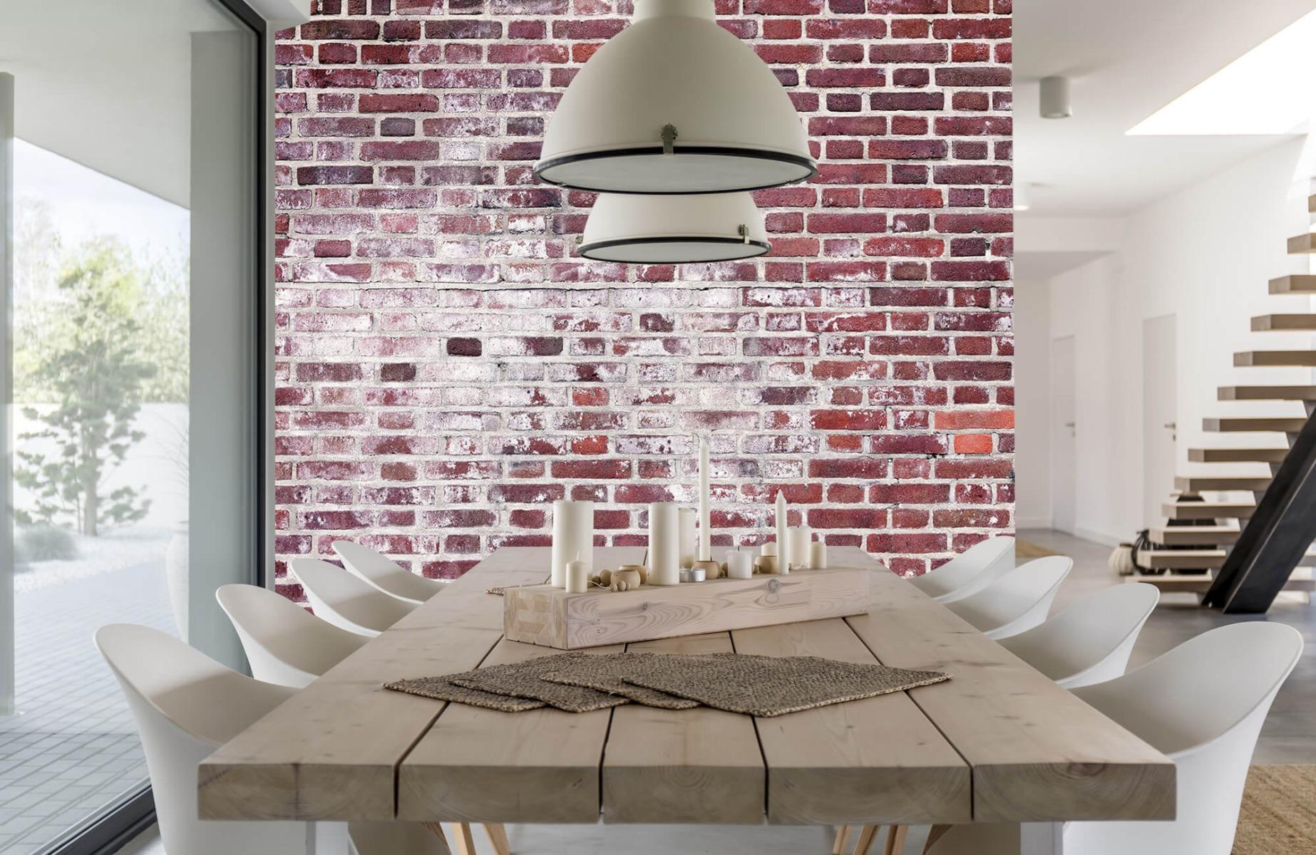 Steen behang - Bakstenen met cement - Wallexclusive - Woonkamer 1