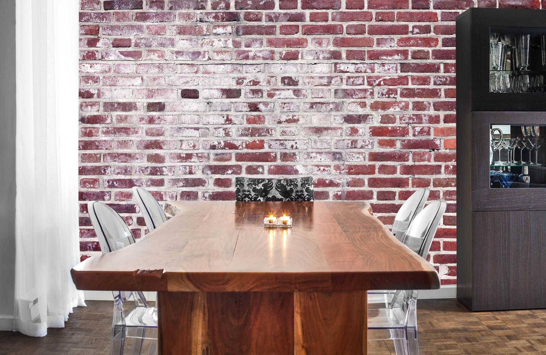 Steen behang - Bakstenen met cement - Wallexclusive - Woonkamer 2