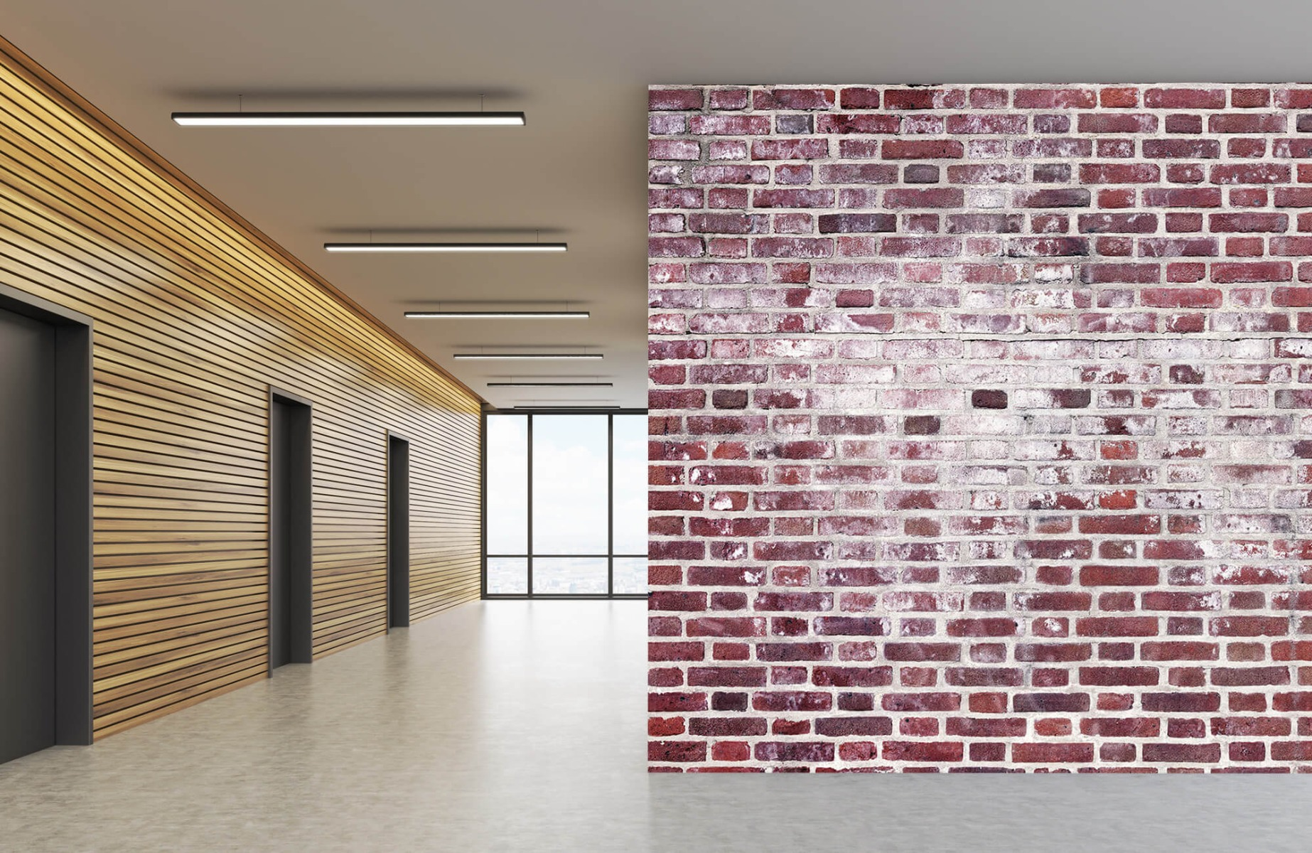 Steen behang - Bakstenen met cement - Wallexclusive - Woonkamer 5
