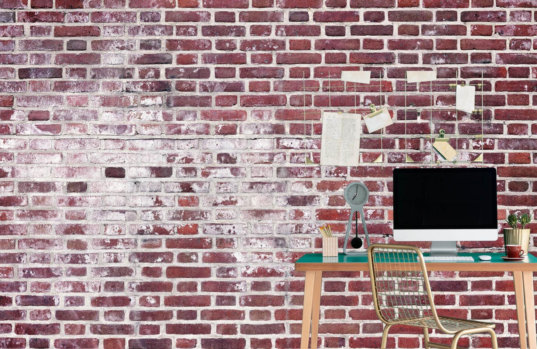 Steen behang - Bakstenen met cement - Wallexclusive - Woonkamer 7