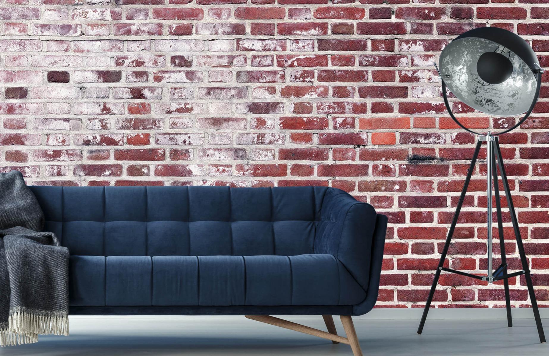 Steen behang - Bakstenen met cement - Wallexclusive - Woonkamer 10