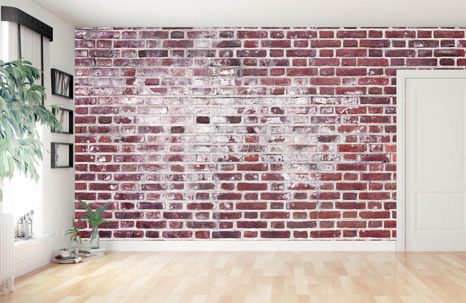 Steen behang - Bakstenen met cement - Wallexclusive - Woonkamer 11