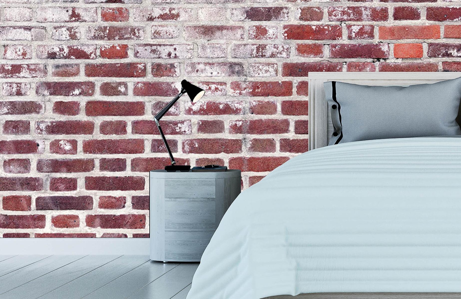Steen behang - Bakstenen met cement - Wallexclusive - Woonkamer 12