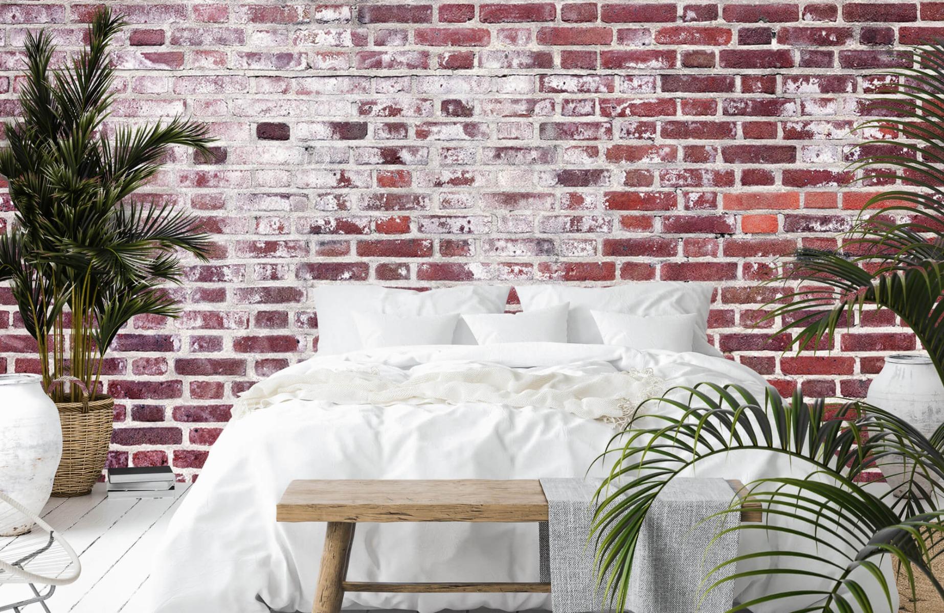 Steen behang - Bakstenen met cement - Wallexclusive - Woonkamer 13