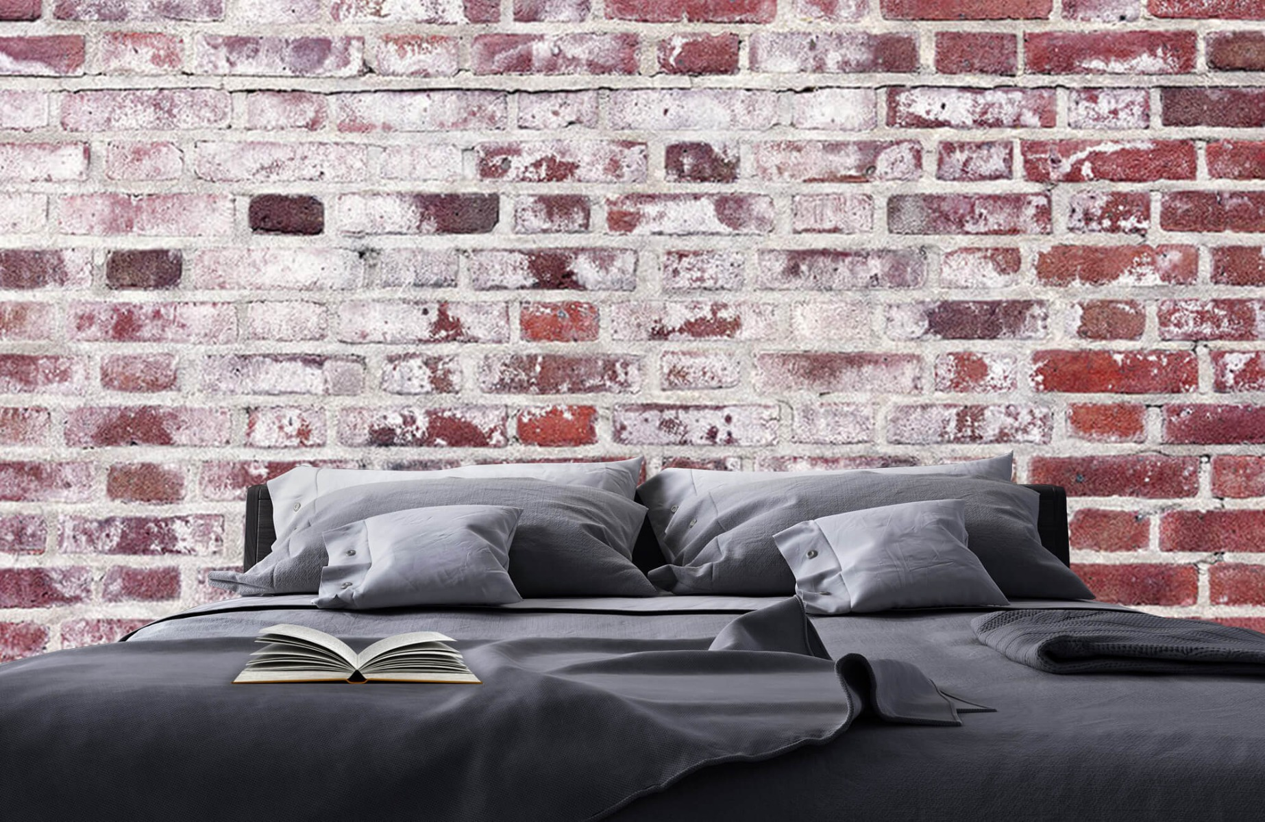 Steen behang - Bakstenen met cement - Wallexclusive - Woonkamer 17