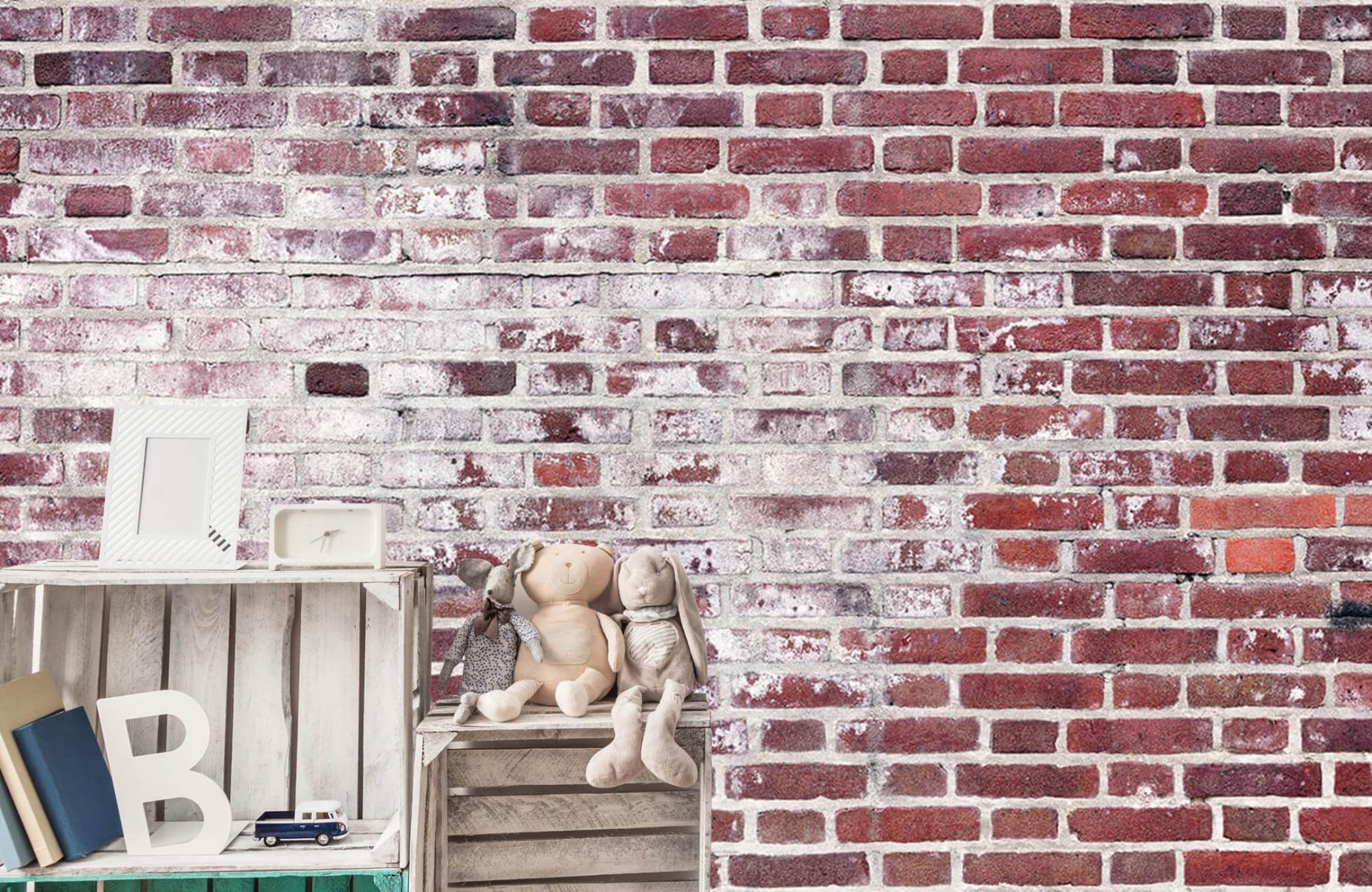 Steen behang - Bakstenen met cement - Wallexclusive - Woonkamer 19