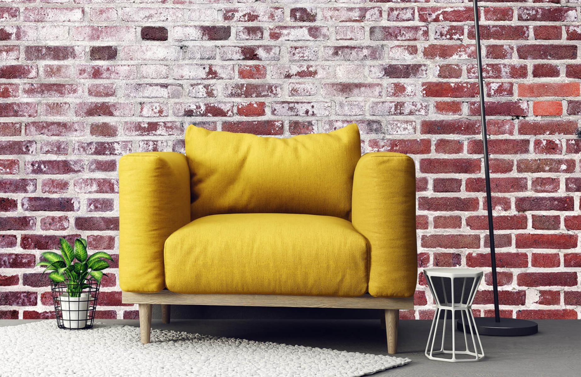 Steen behang - Bakstenen met cement - Wallexclusive - Woonkamer 21