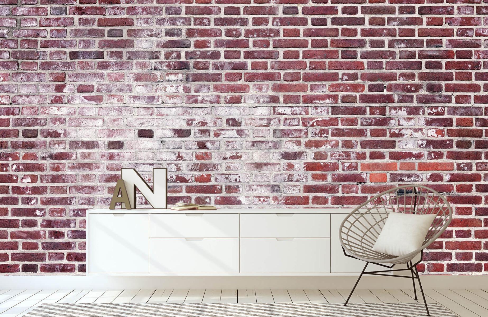 Steen behang - Bakstenen met cement - Wallexclusive - Woonkamer 23