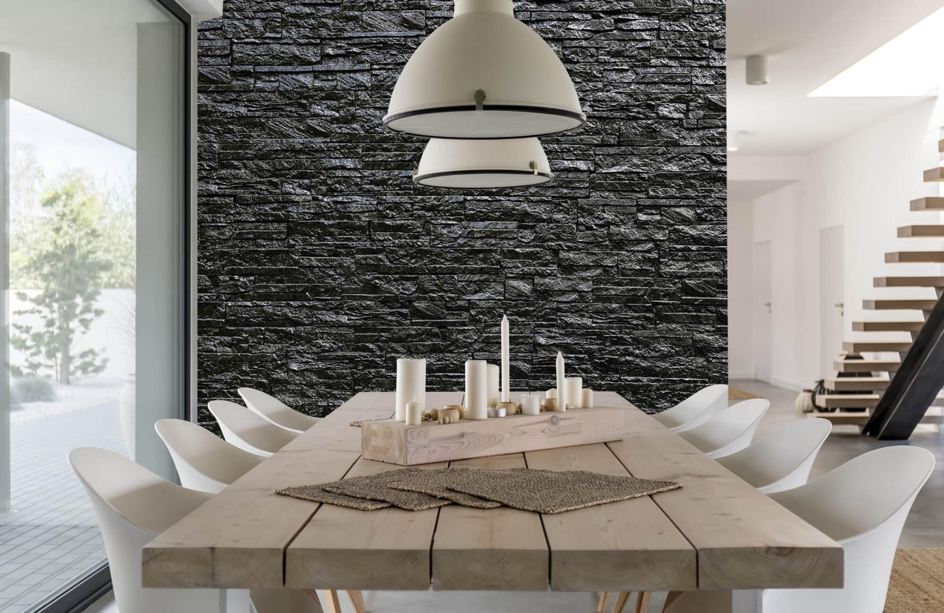 Steen behang - Zwarte stenen - Wallexclusive - Slaapkamer 2
